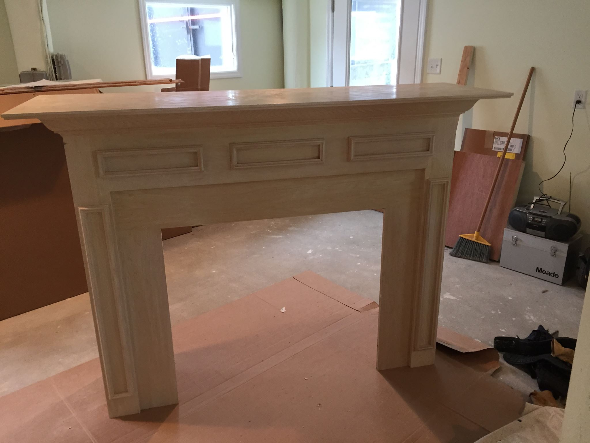 Refinishing fireplace mantle for remodel