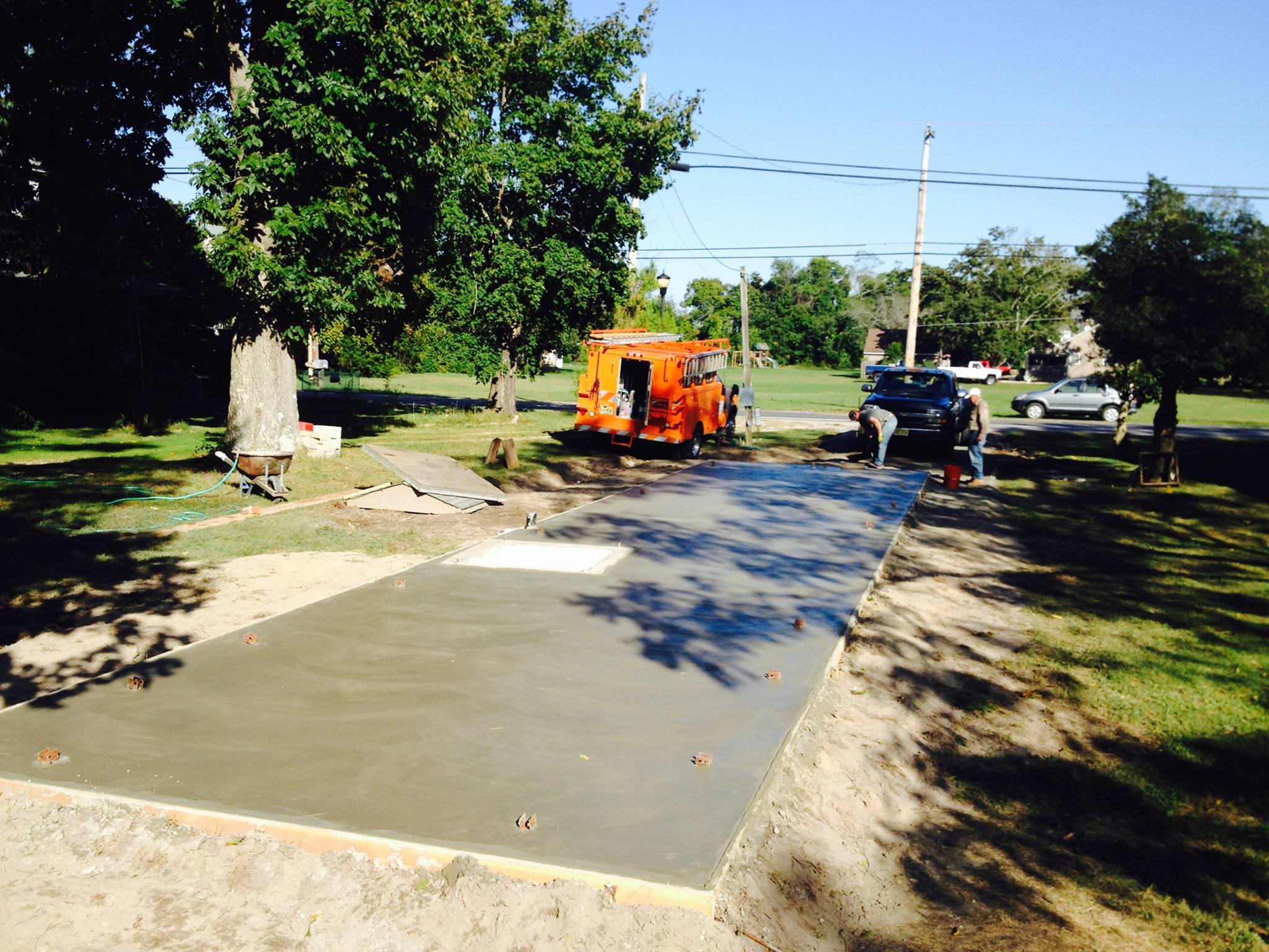 Cement pad for mobile home foundation