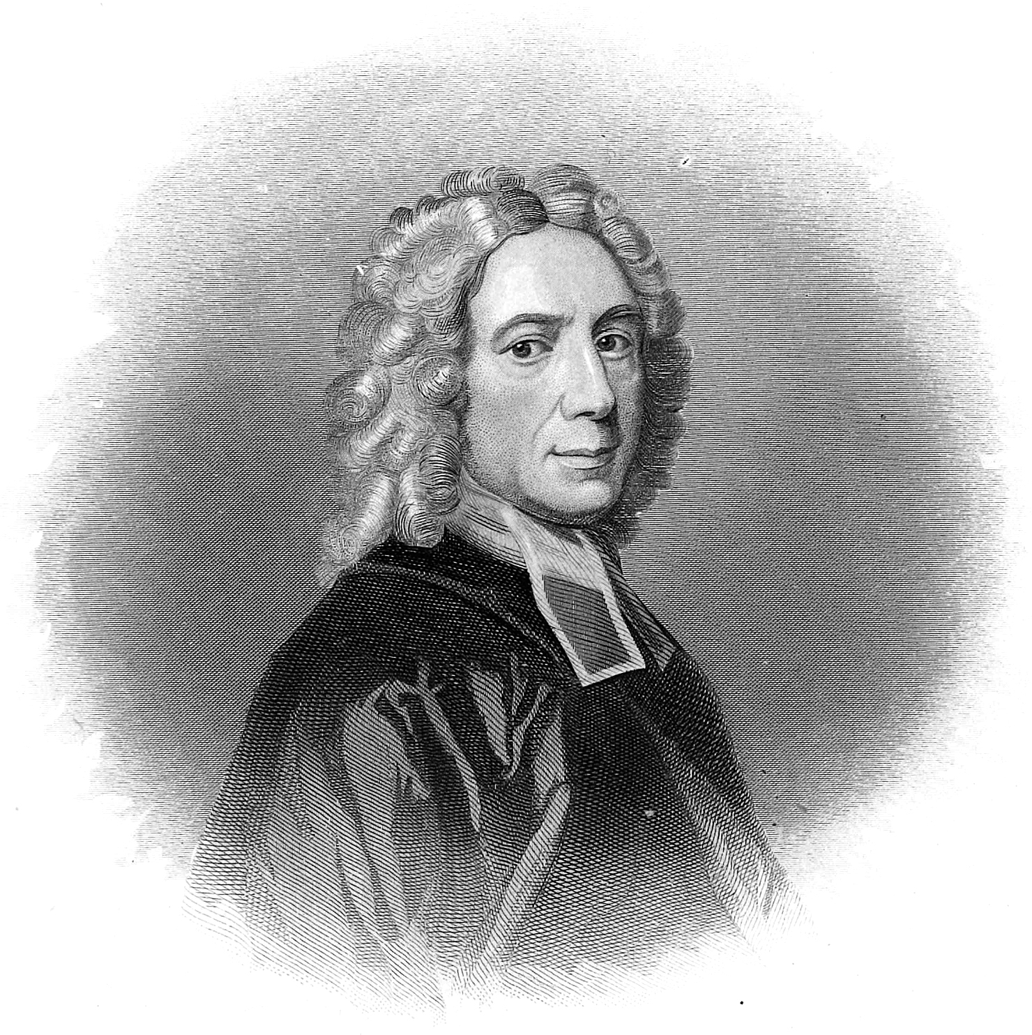 Isaac Watts , from Edwin Long,  Illustrated History of Hymns and Their Authors  (ca. 1882), based on the portrait by Godfrey Kneller, National Portrait Gallery.