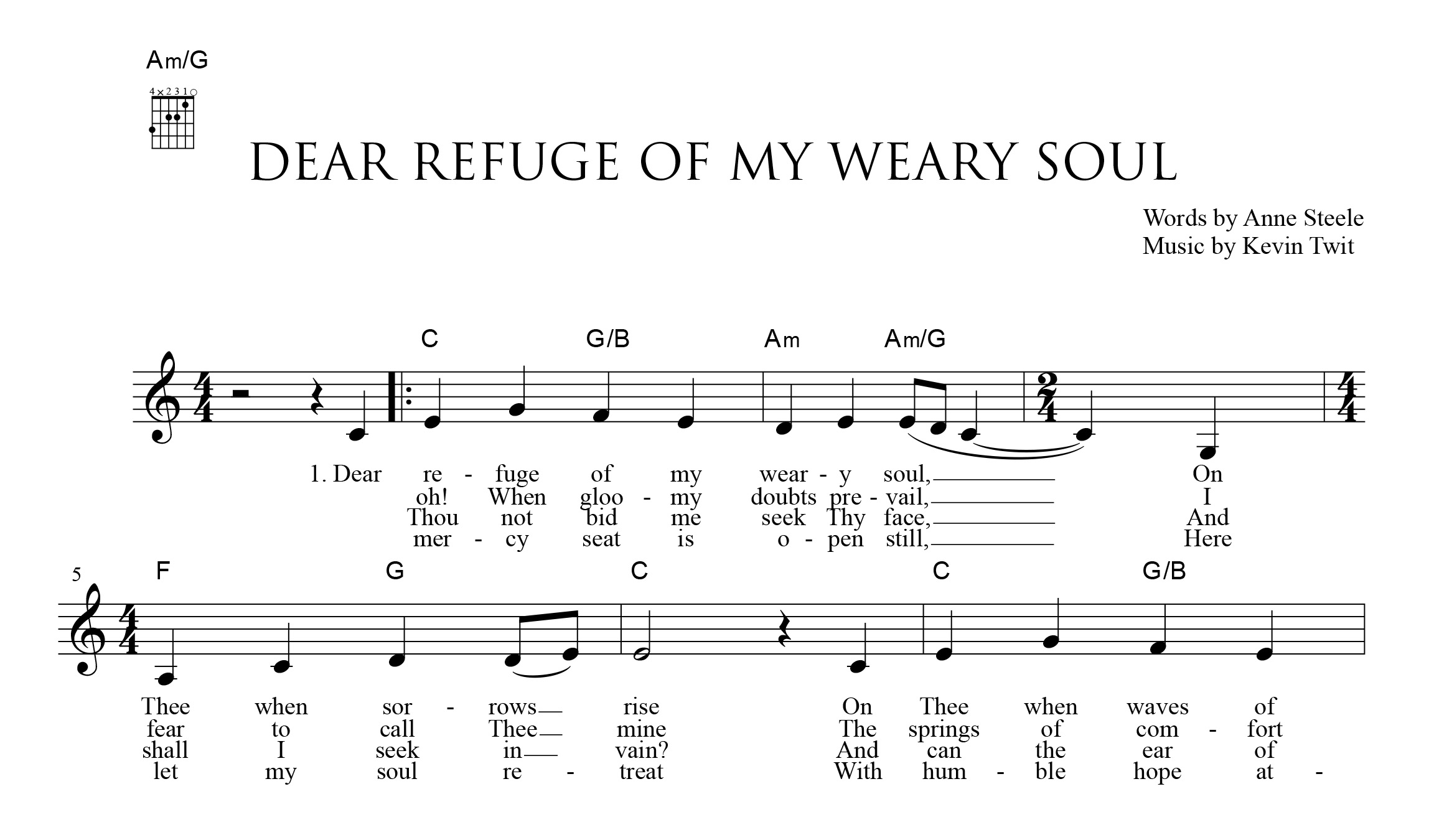 Fig. 3.  Music by Kevin Twit (excerpt), for Indelible Grace (2000).