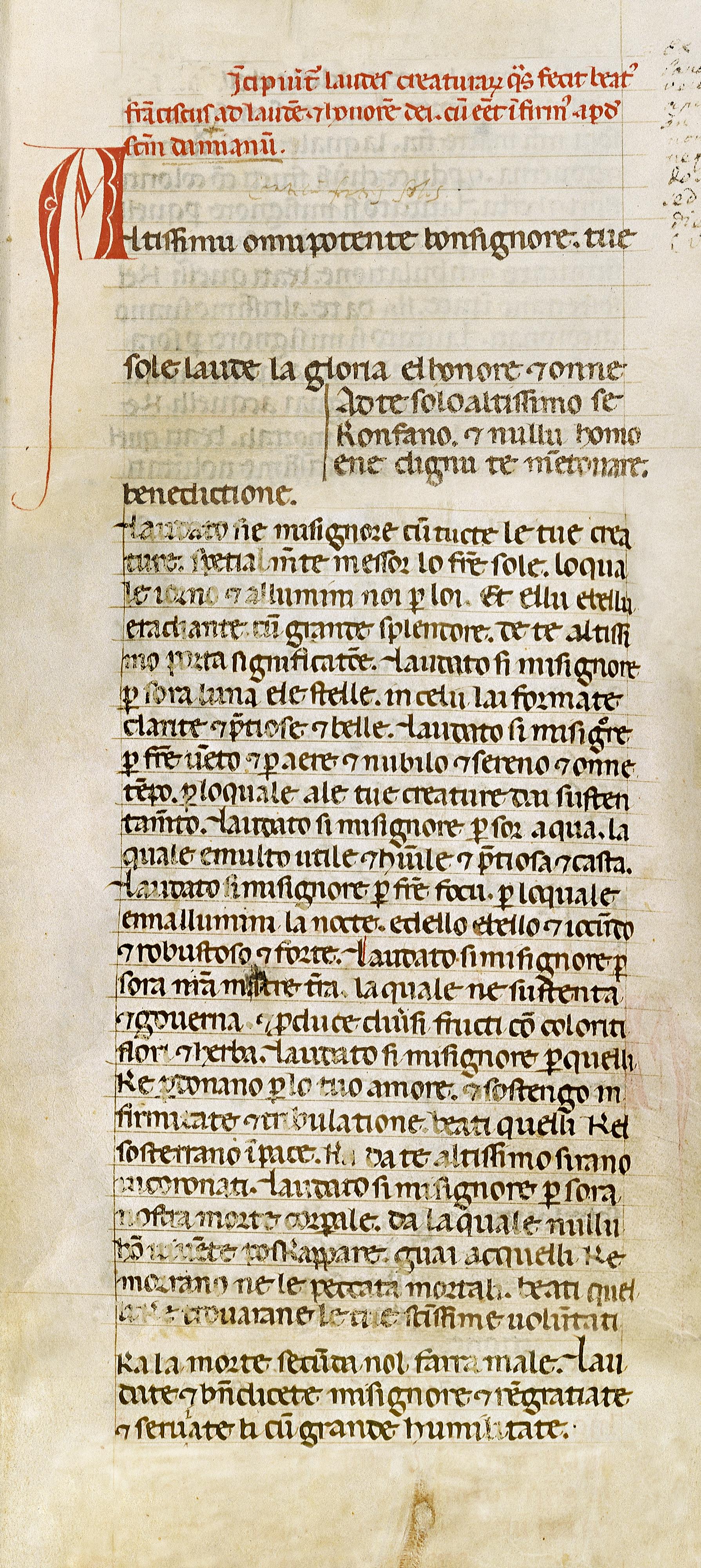 Fig. 1.  Codex 338, fols. 33r-34r, (composite), Biblioteca Communale Fondo Antico San Francesco, Assisi. Image ©1999 Stefan Diller Wuerzburg (www.assisi.de). Used by permission.