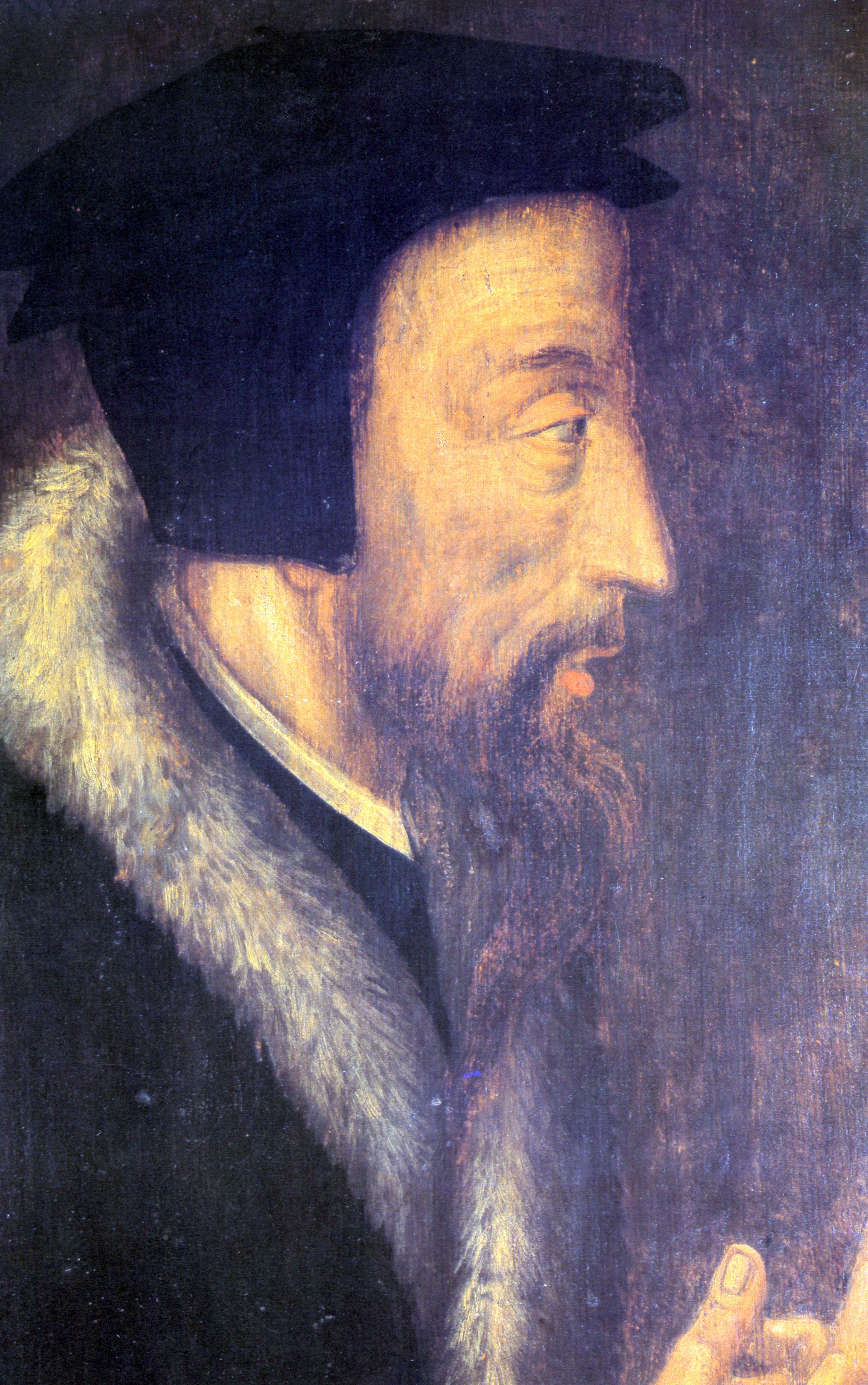 Jean Calvin,  16th century, Geneva, Bibliothèque Publique et Universitaire.
