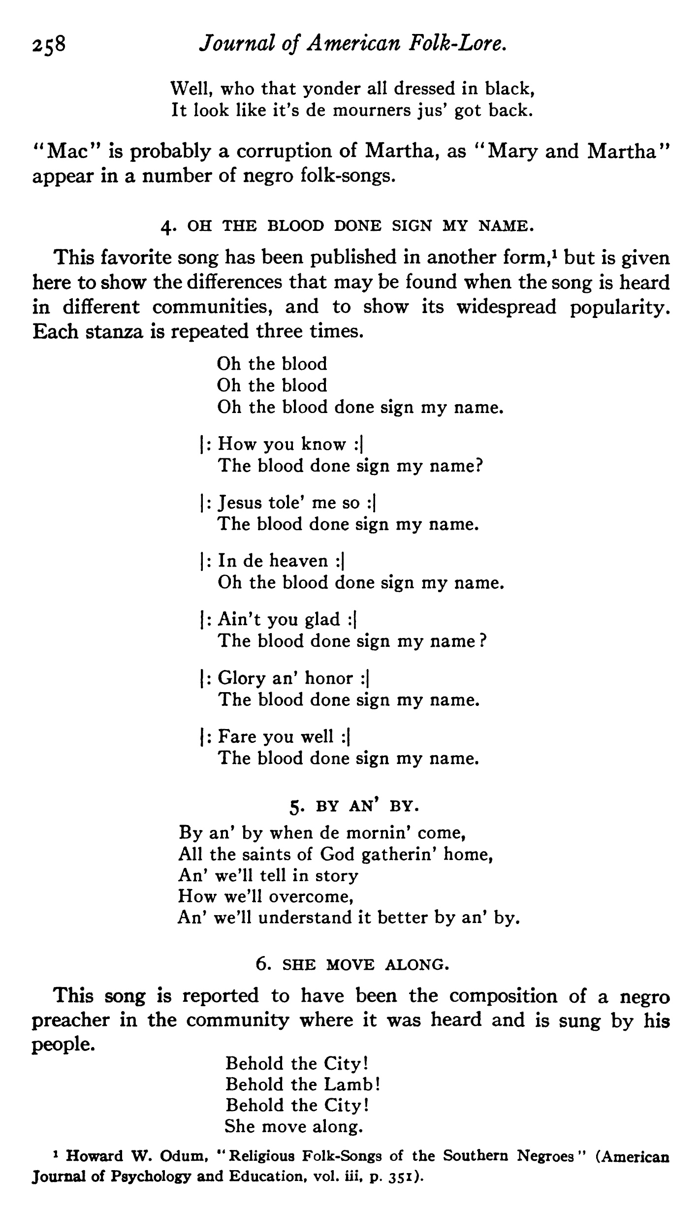 """Fig. 2:  Anna Kranz Odum, """"Some negro folk-songs from Tennessee,""""  The Journal of American Folklore , vol. 27, no. 105 (July–Sept. 1914)."""