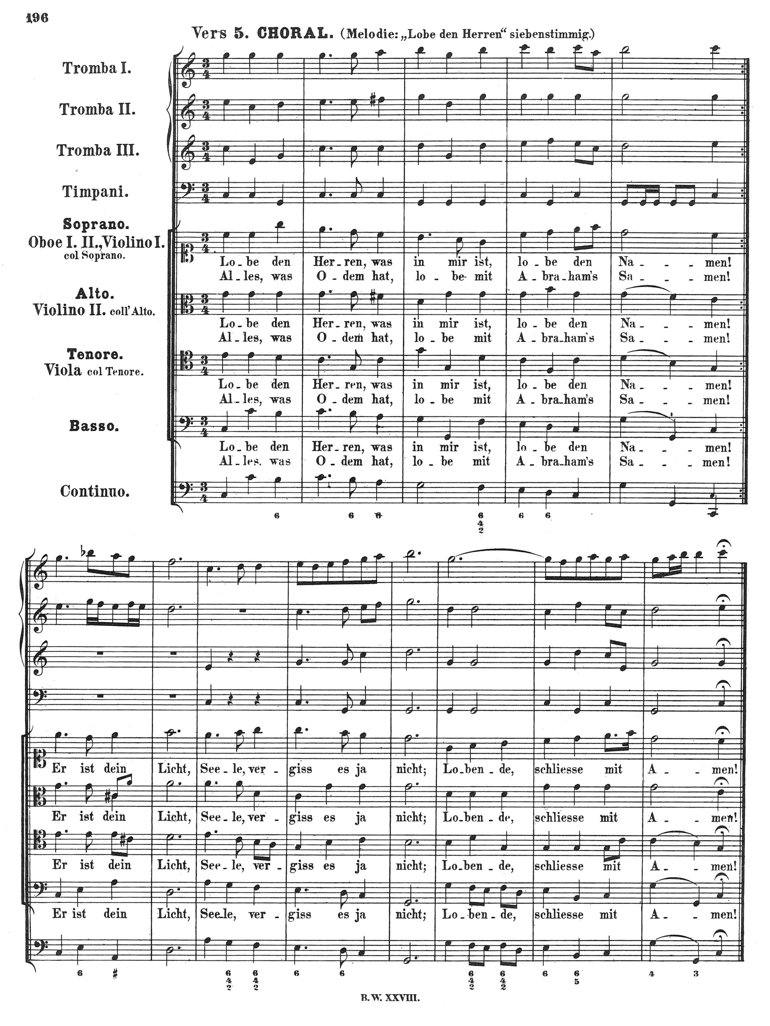 Fig. 5.  Johann Sebastian Bach, Cantata BWV 137 (1725), in  Werke , vol. 28 (Leipzig: Breitkopf & Härtel, 1881).