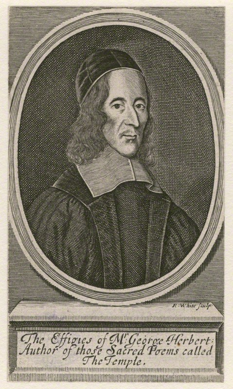 George Herbert,  engraving by Robert White (1674), National Portrait Gallery, London.