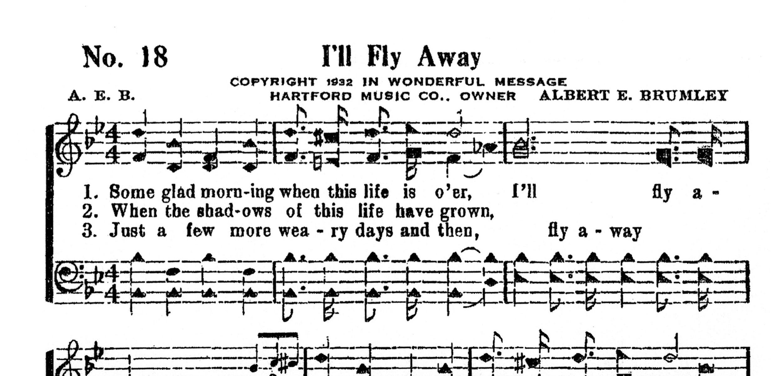 Fig. 1.   The Wonderful Message  (1932), excerpt. ©1960 Albert E. Brumley & Sons.