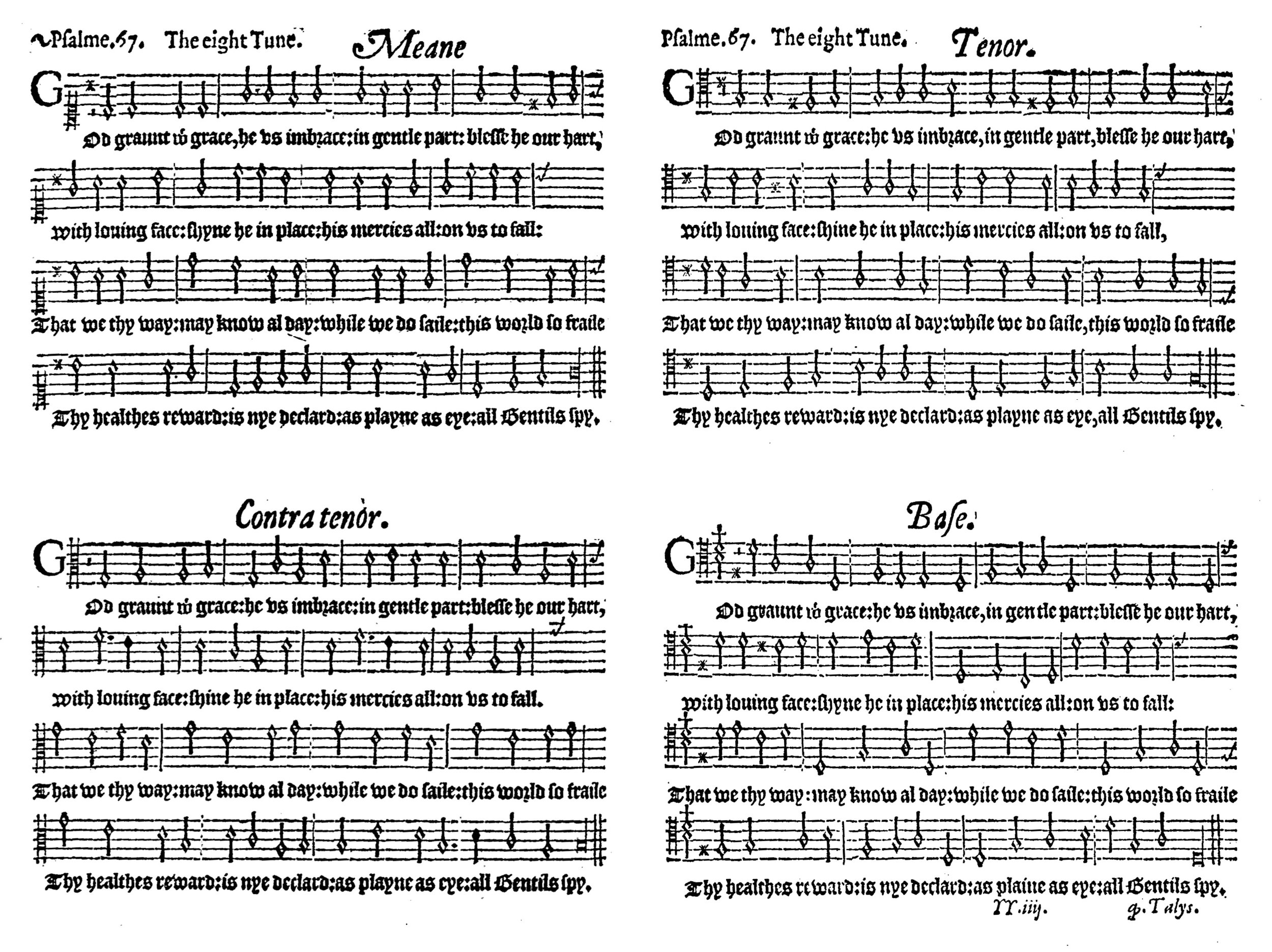 Fig. 8.   The Whole Psalter Translated into English Metre  (London: John Daye, ca. 1567). Melody in the tenor part.