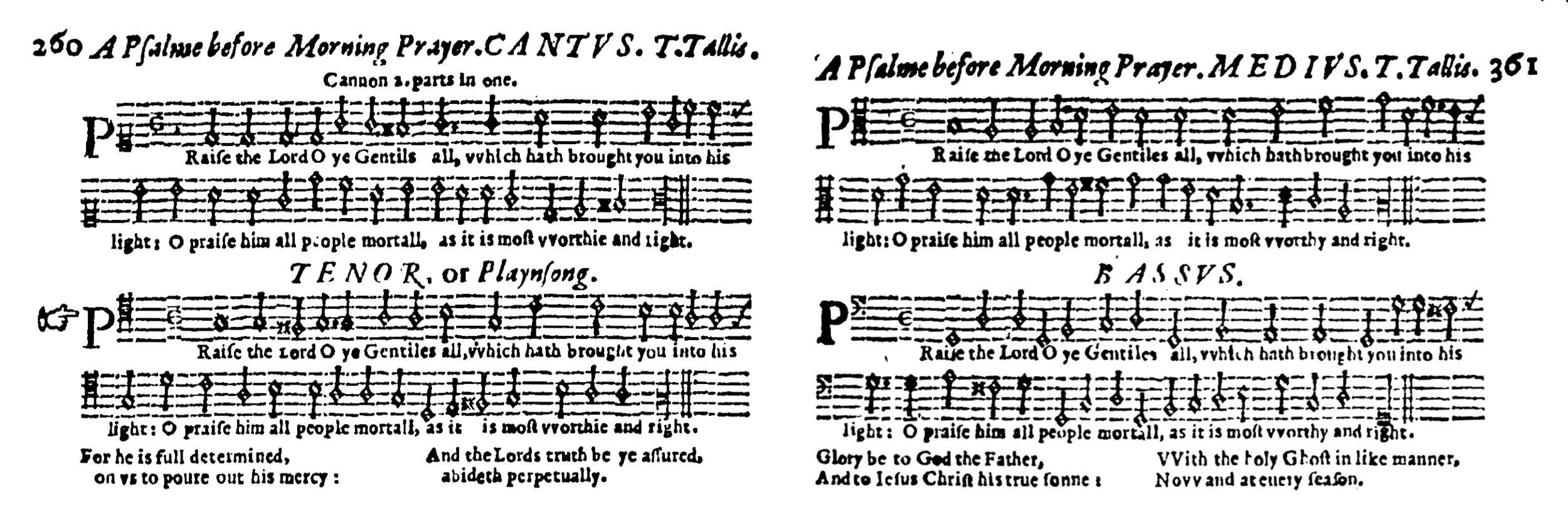 Fig. 9.  Thomas Ravenscroft,  Whole Booke of Psalmes  (London, 1621). Melody in the tenor part, helpfully indicated by the hand.