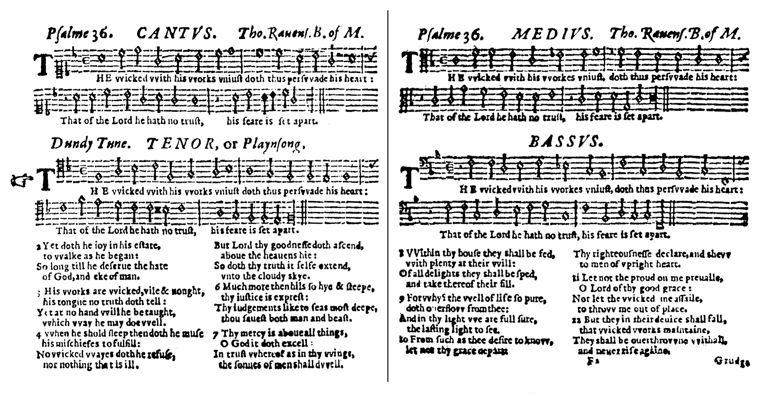Fig. 3.  Thomas Ravenscroft,  The Whole Booke of Psalmes  (London, 1621). Melody in the tenor part.