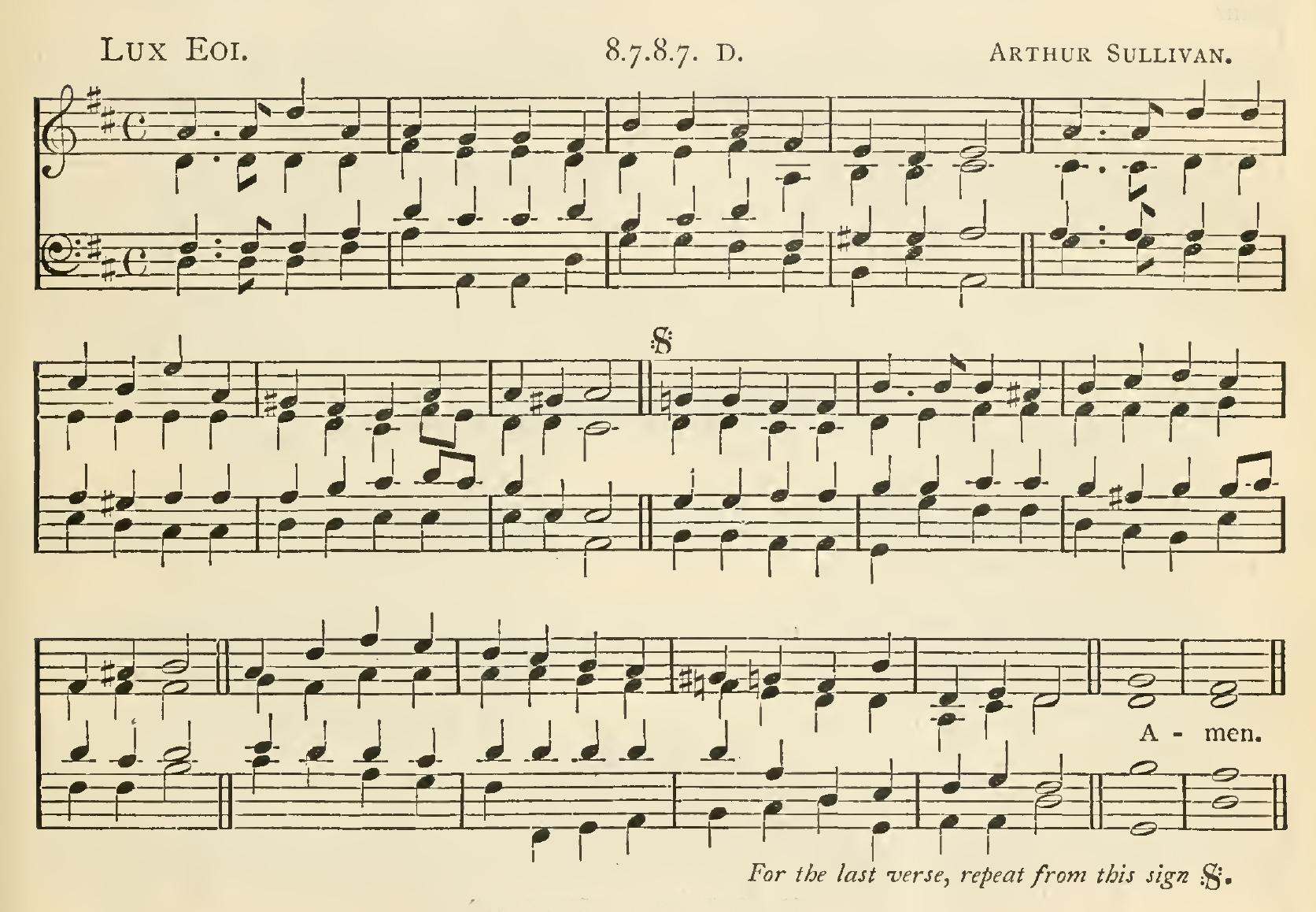 Fig. 10.  Arthur Sullivan,  Church Hymns and Tunes  (1874), no. 67.