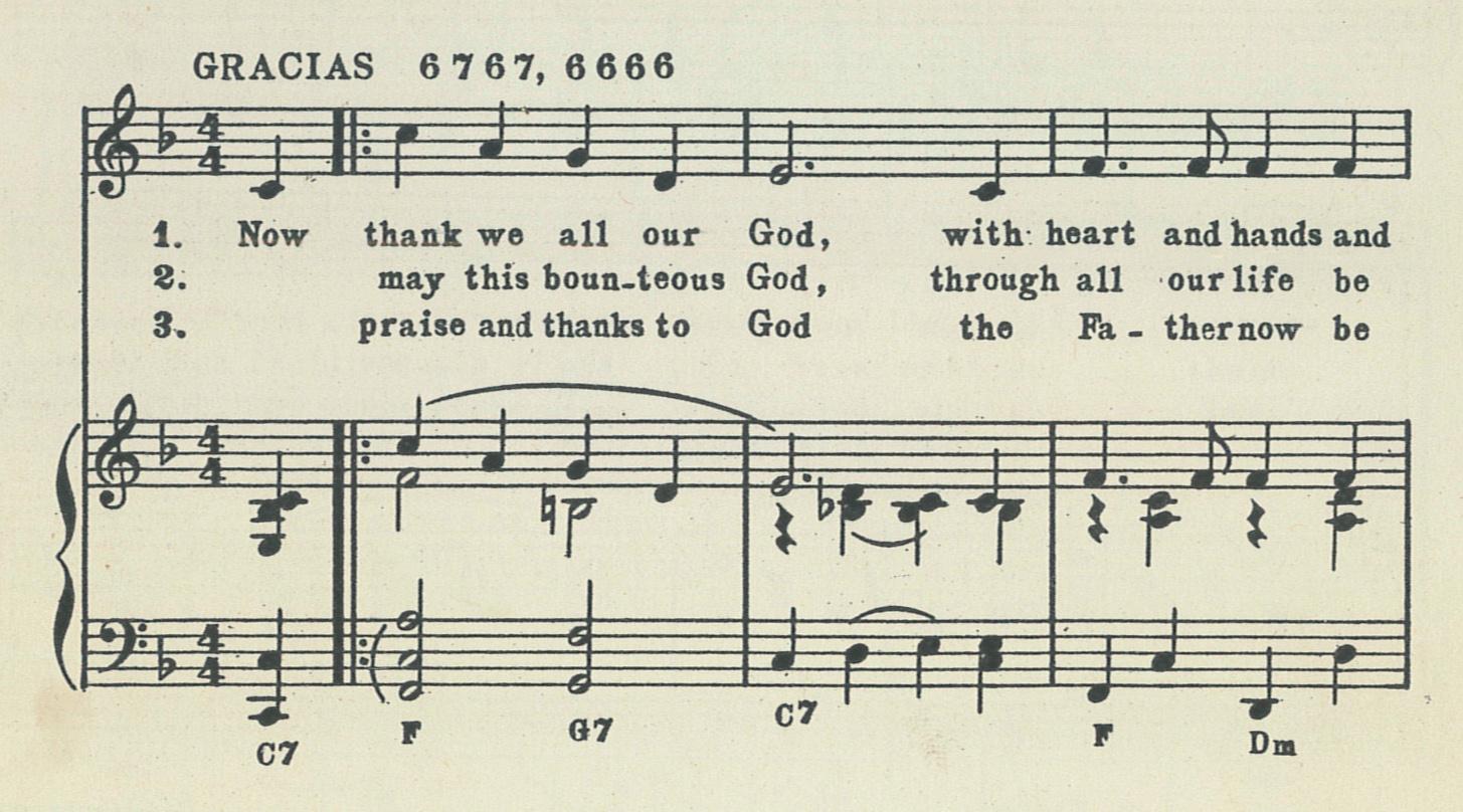 Fig. 5.  Geoffrey Beaumont,  Three Hymn Tunes from 20th Century Folk Mass  (London: W. Paxton, 1957), excerpt.