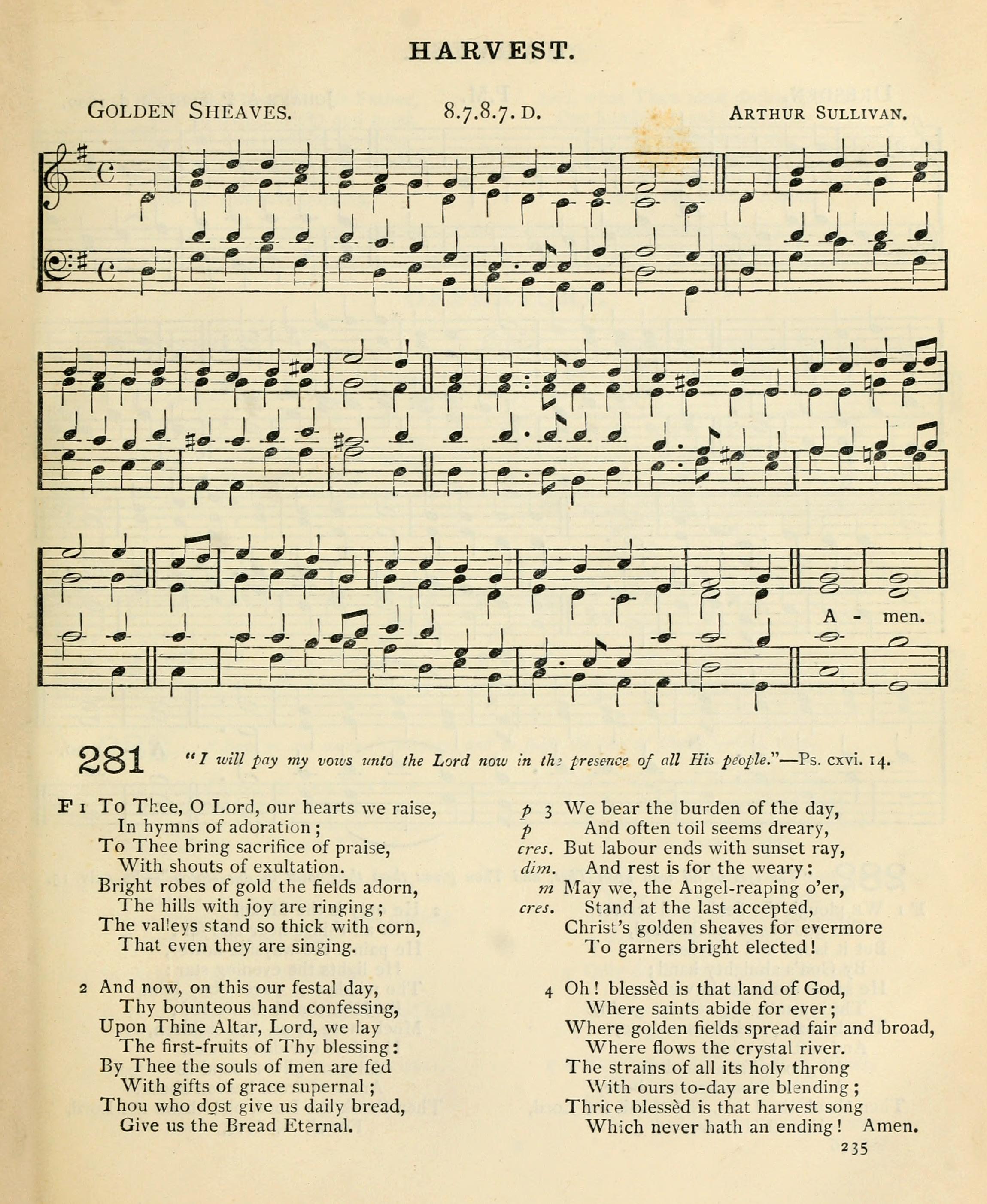Fig. 2.  Arthur Sullivan,  Church Hymns with Tunes  (1874).
