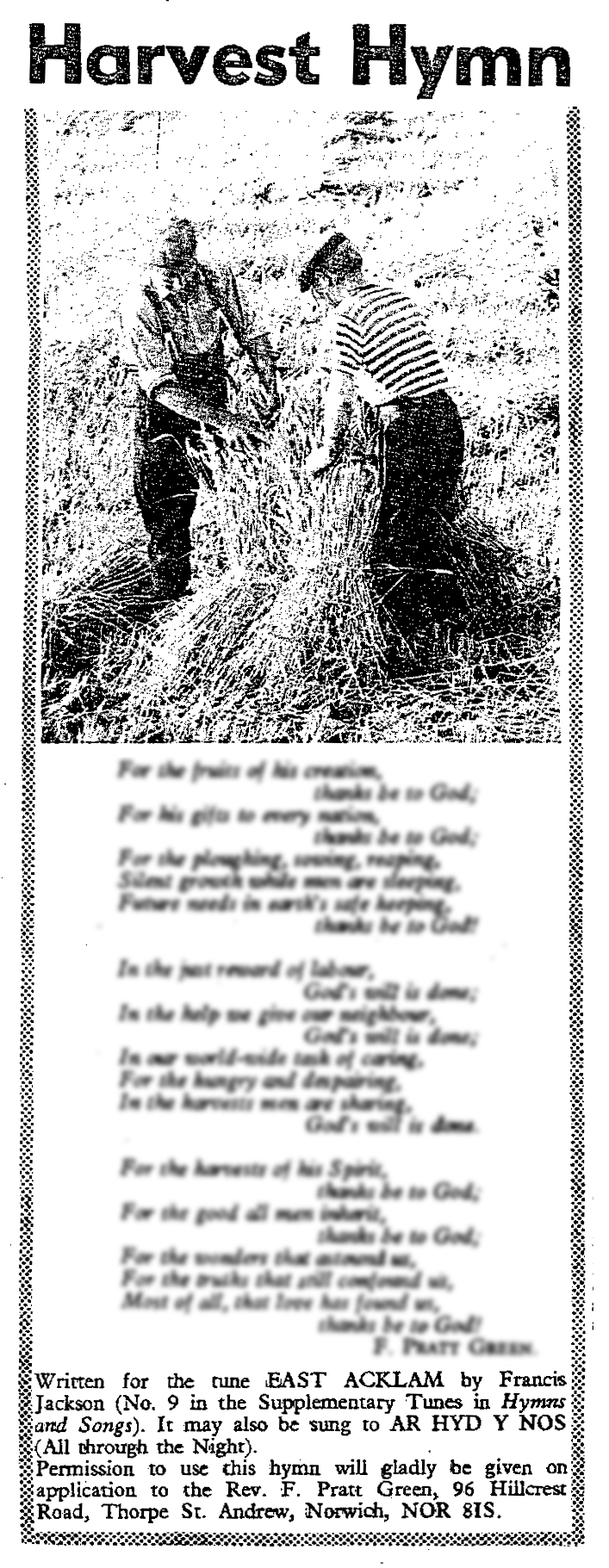 Fig. 1.   Methodist Recorder , 6 August 1970, p. 13. Text ©1970 Hope Publishing Company.