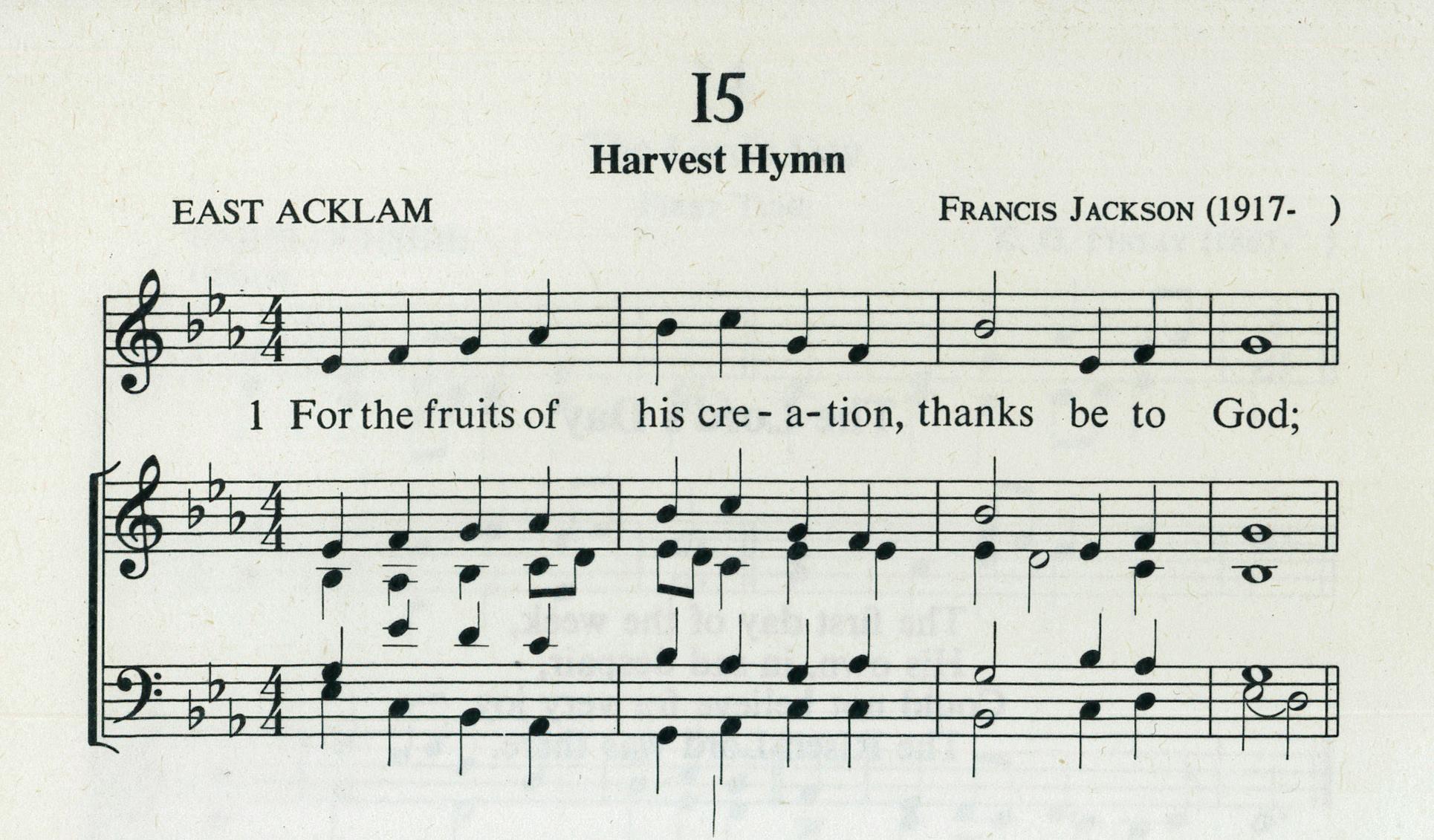 Fig. 3.  Fred Pratt Green,  26 Hymns  (London: Epworth, 1971), excerpt. Text ©1970 Hope Publishing Co., tune ©1960 Francis Jackson.