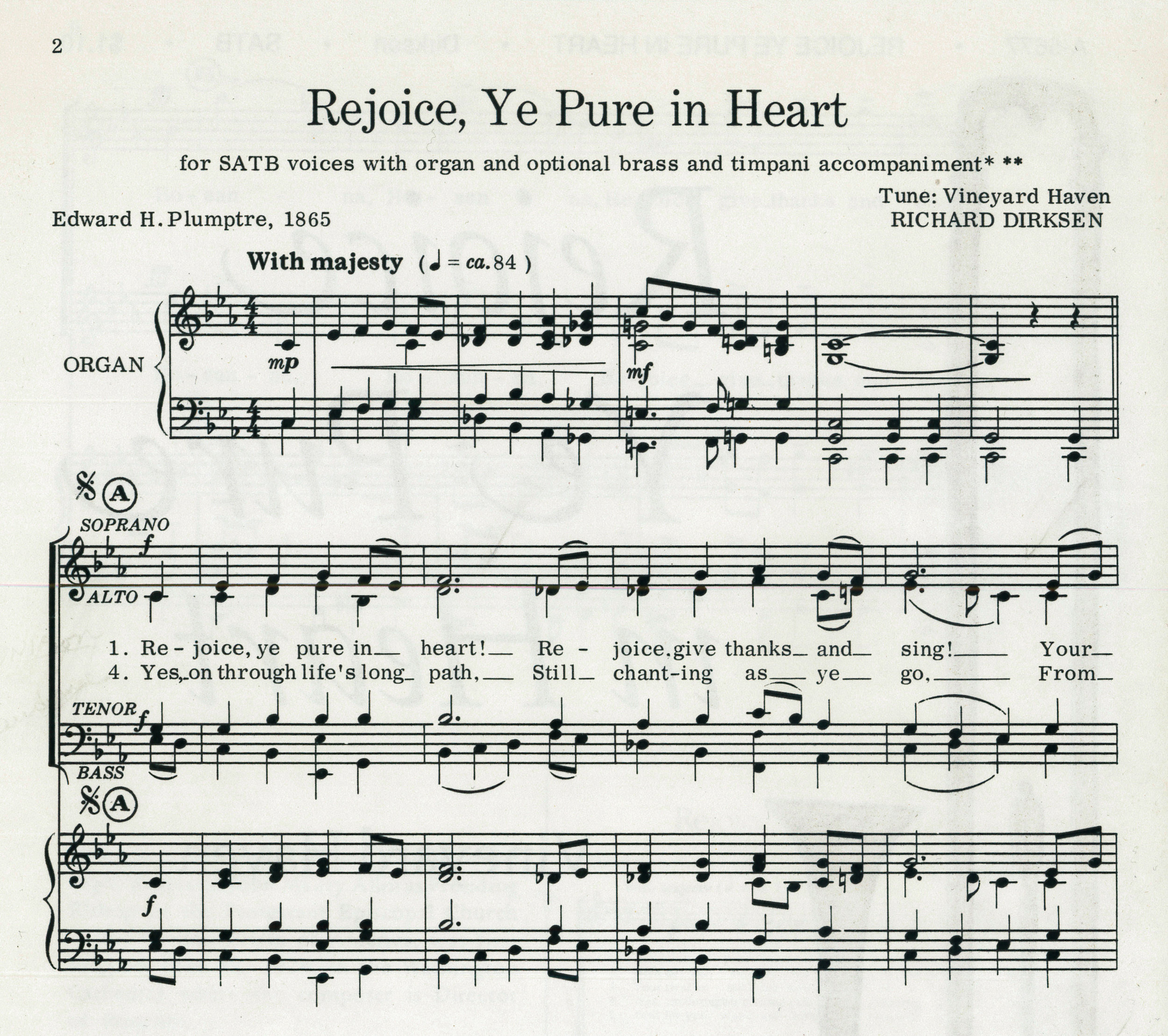 "Fig. 4.  Richard Dirksen, ""Rejoice, ye pure in heart,"" SATB (Delaware Water Gap, PA: Harold Flammer Music,1974), excerpt. Tune ©1974 Harold Flammer, Inc."