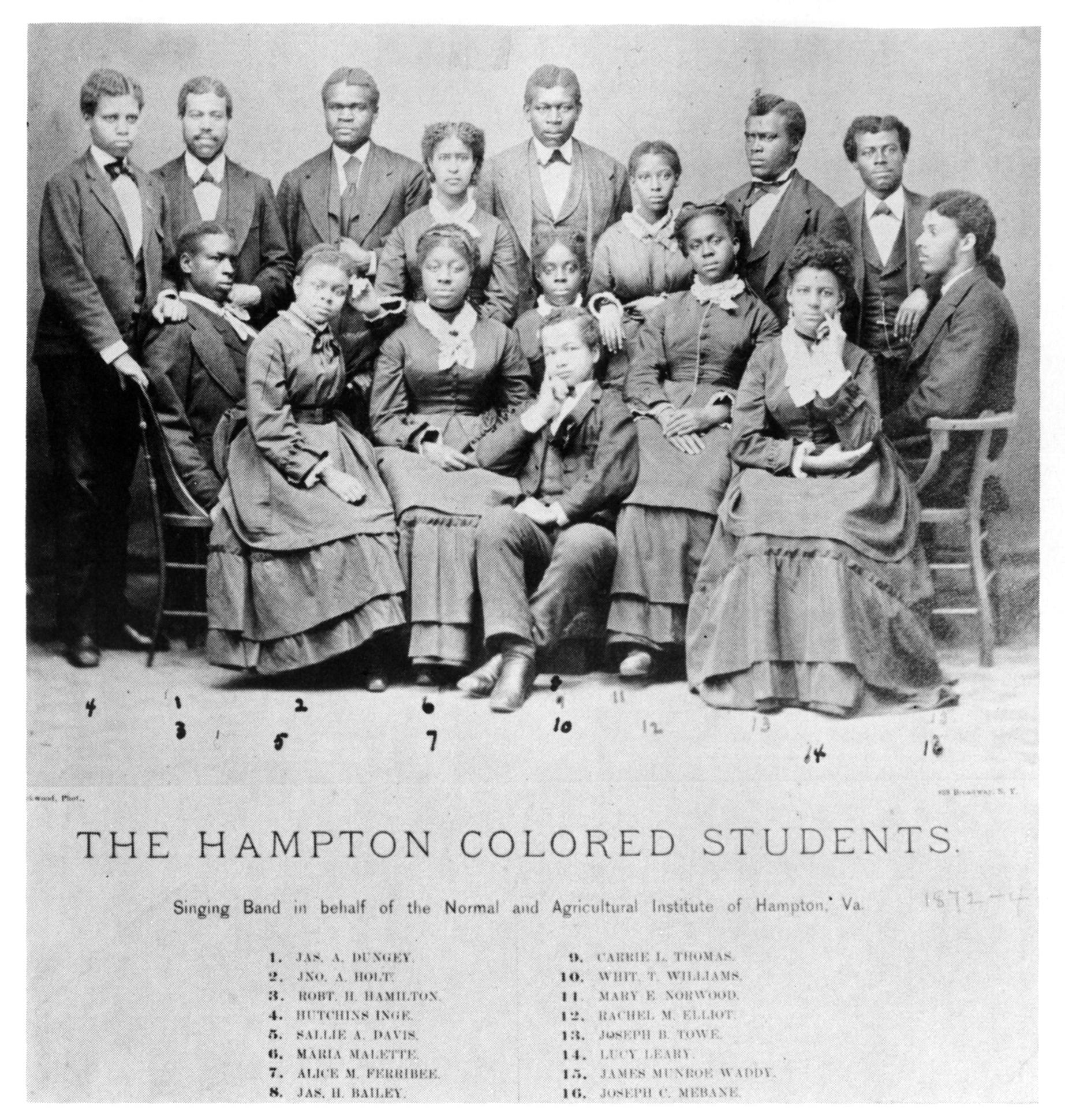 Hampton Singers , ca. 1872-1874, in  Hampton Institute: A Pictorial Review of Its First Century, 1868-1968  (Hampton: Prestige Press, 1968).