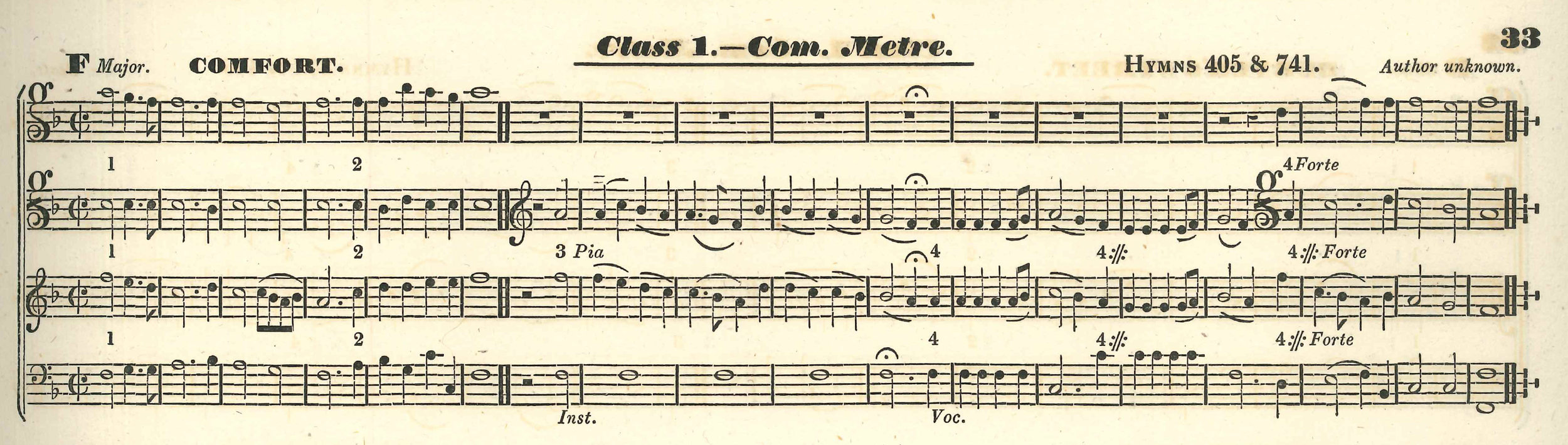 Fig. 3.  Thomas Hawkes,  Collection of Tunes  (Watchet: Thomas Whitehorn, 1833). Melody in the third voice (tenor).