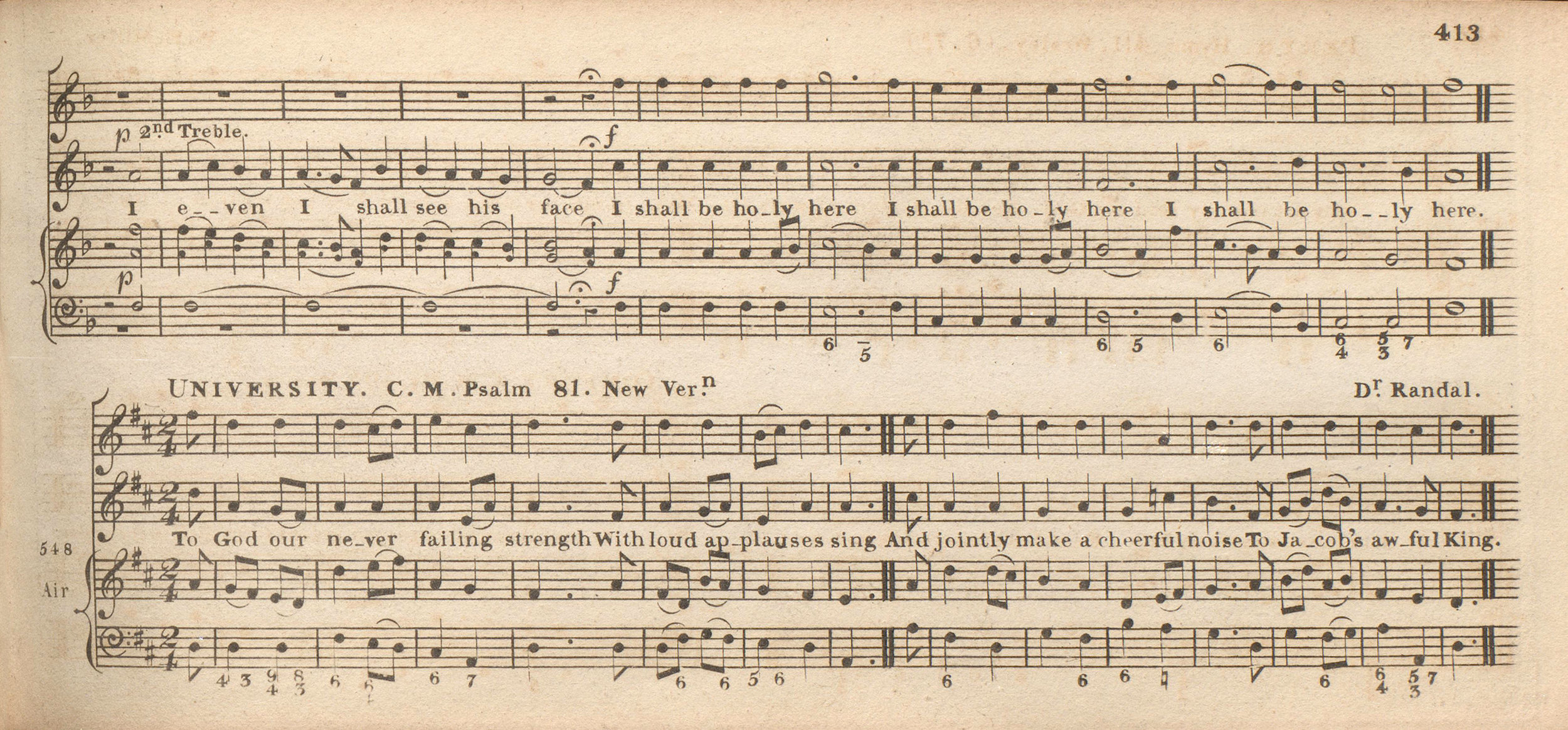 Fig. 4.  Thomas Clark,  The Congregational Harmonist or Clerk's Companion,  vol. 3 (London: W. Blackman, n.d.). Melody in the third voice (tenor).