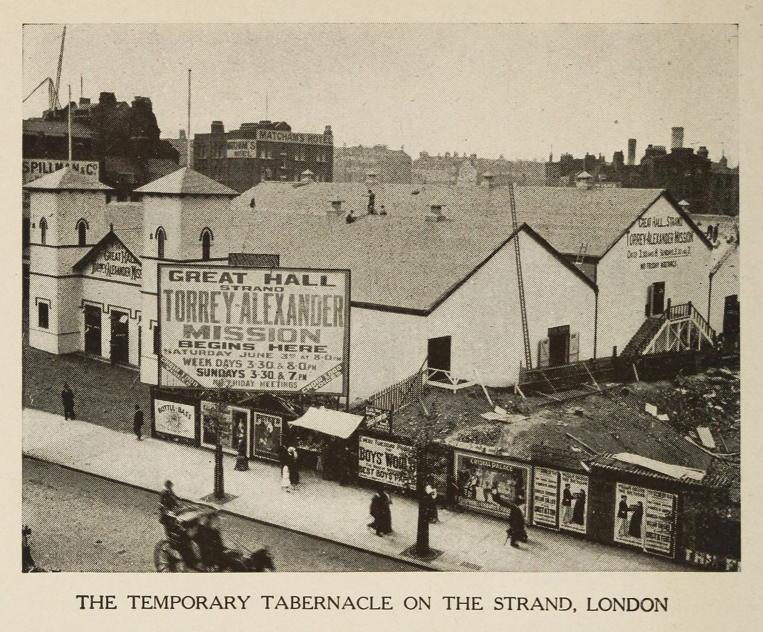 Mission site at The Strand, London, England, 1905, in  Twice Around the World with Alexander  (1907).