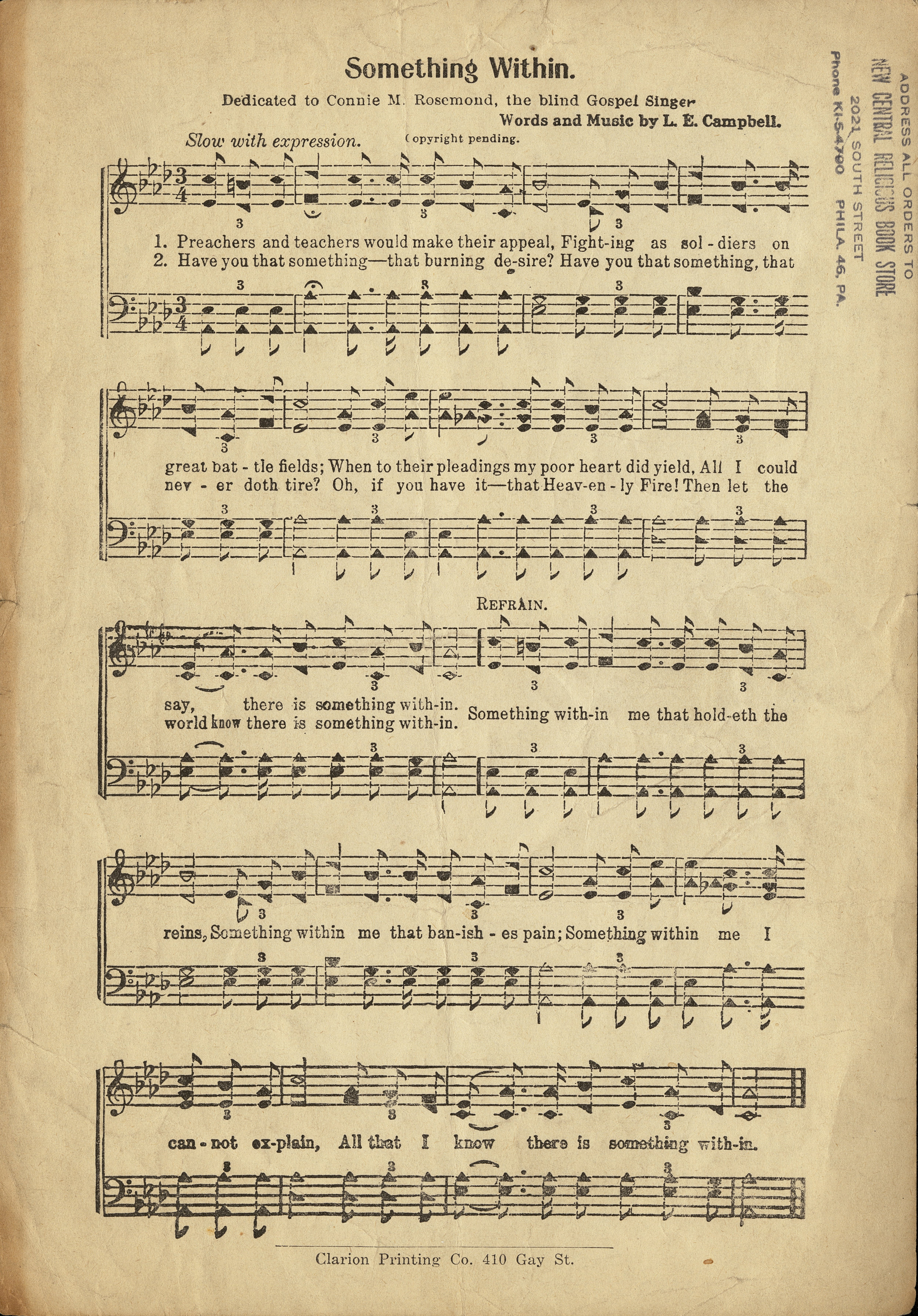 Fig. 1.  Emory University, Stuart A. Rose Library, African American Sheet Music Collection, Box 2, Folder 45.