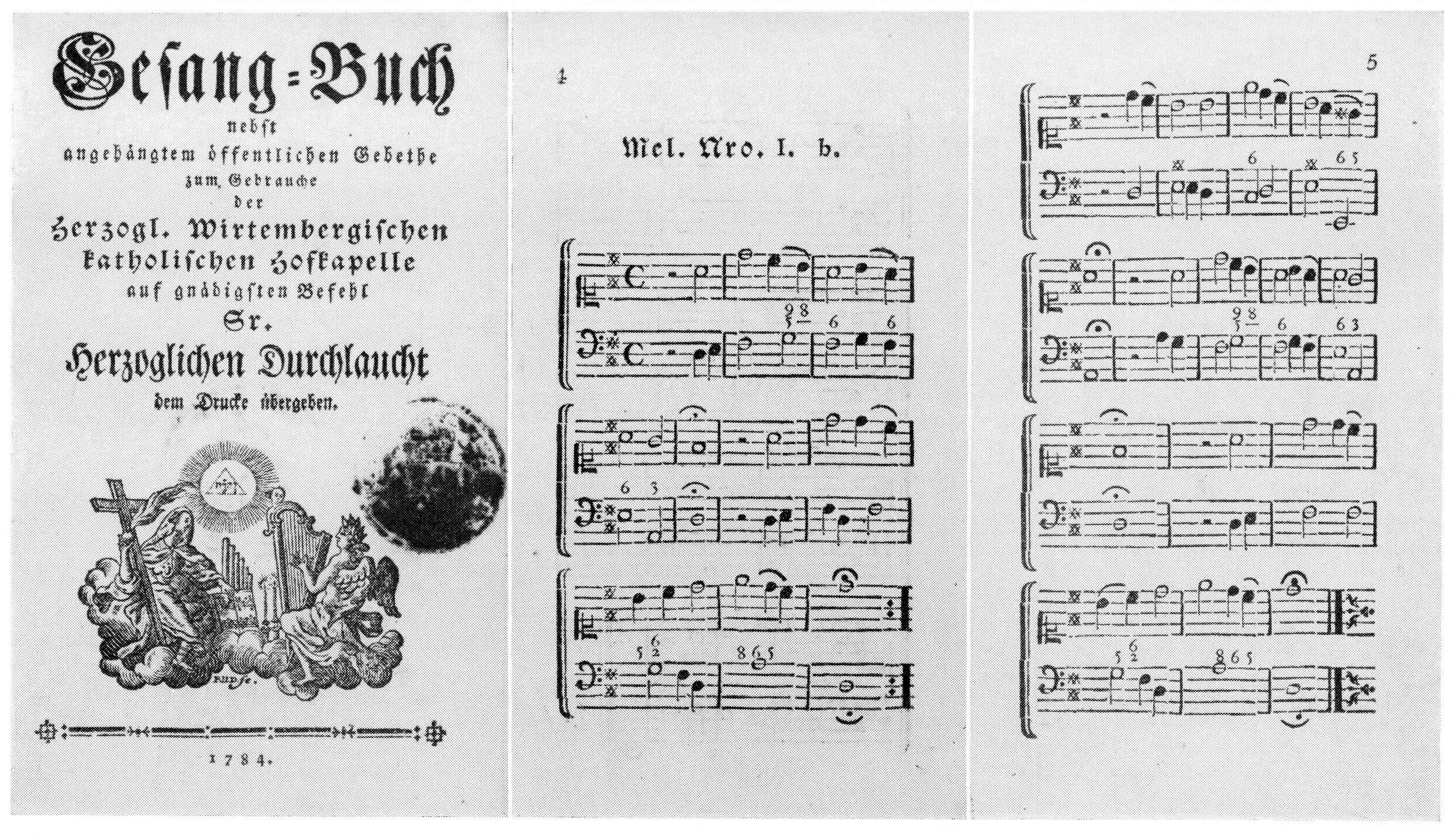 Fig. 3.   Gesang-Buch nebst angehängtem öffentlichen Gebethe zum Gebrauche der Herzogl. Wirtembergischen katholischen Hofkapelle (1784),  reproduced in  Historical Companion to Hymns Ancient & Modern  (1962).