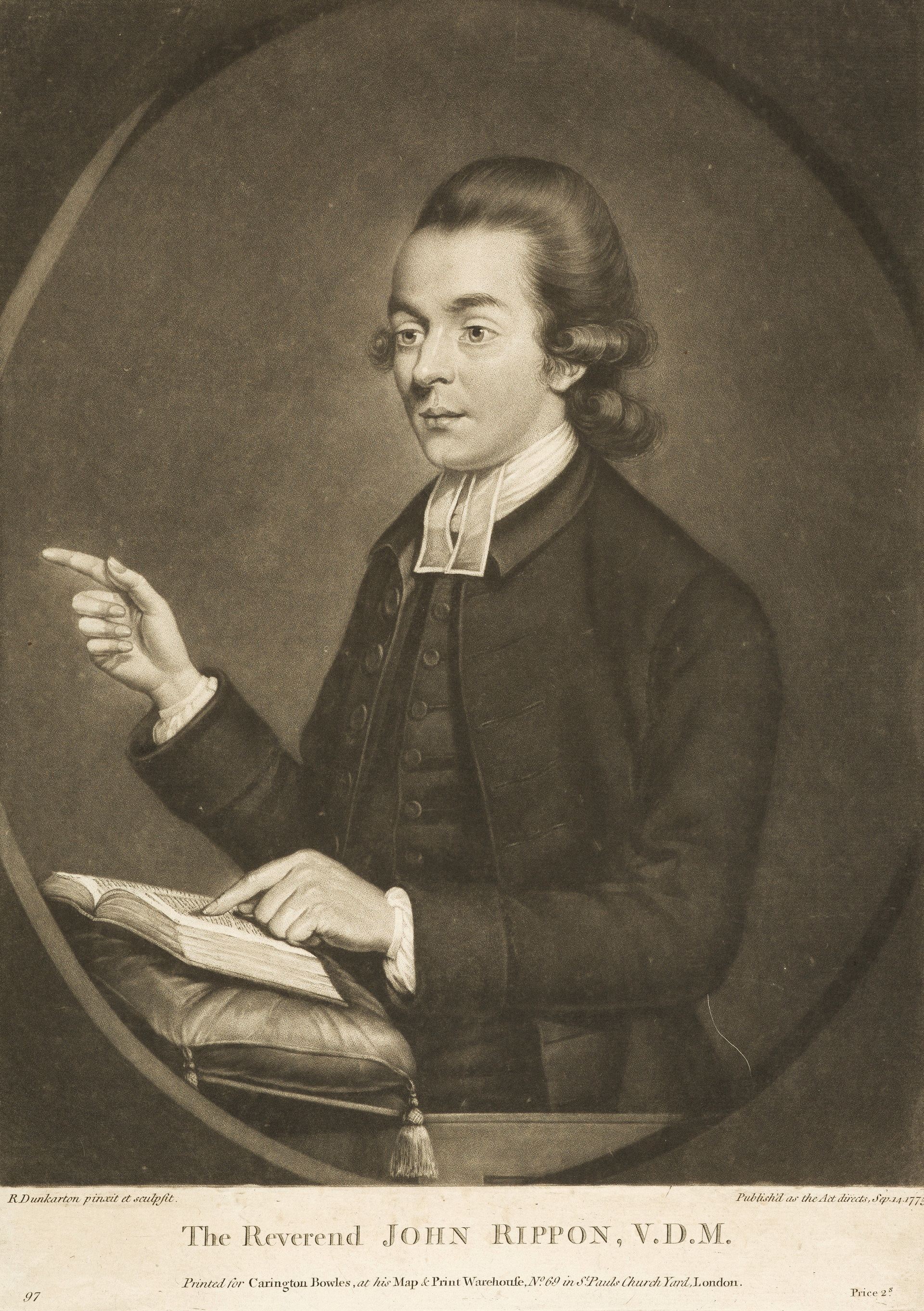 John Rippon , portrait by Robert Dunkarton, 1775,  National Galleries Scotland .
