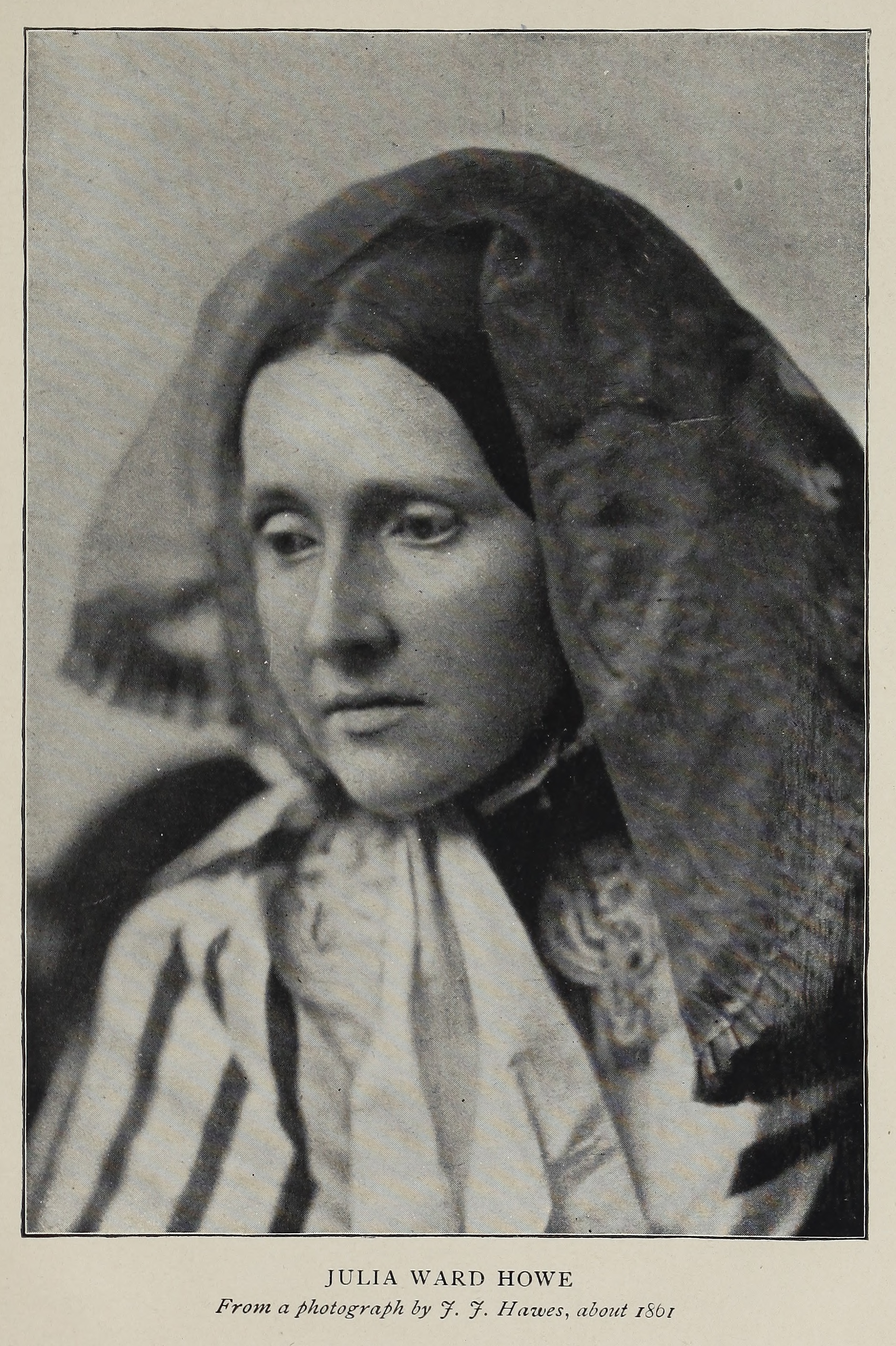 Julia Ward Howe , photo by J.J. Hawes (ca. 1861), in  Reminiscences  (1899).