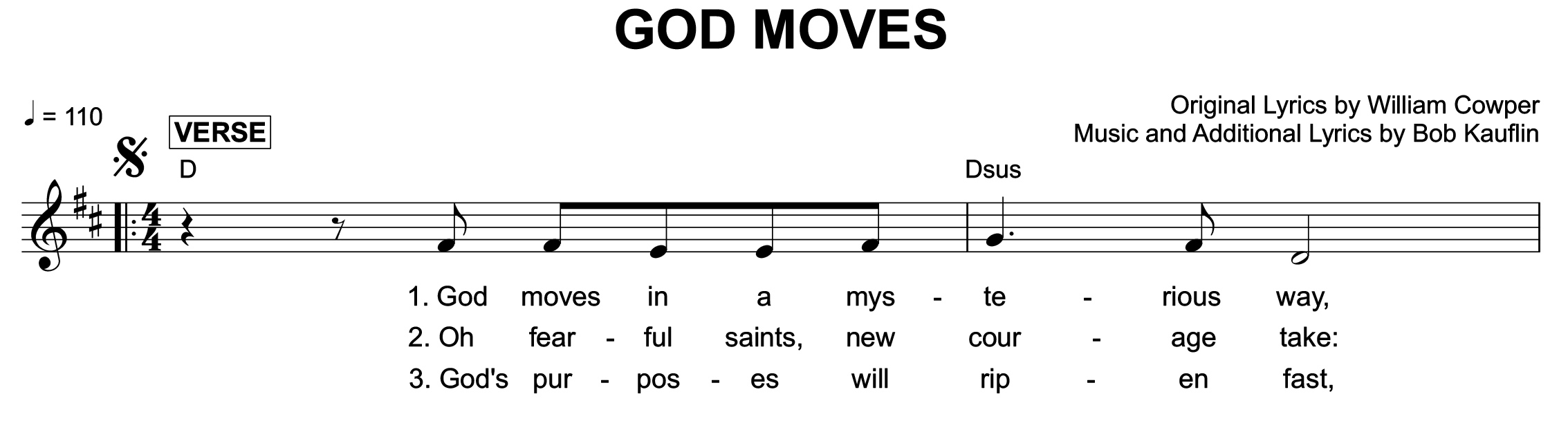 "Fig. 5.  Bob Kauflin, ""God moves"" (©2005 Sovereign Grace Praise), excerpt."
