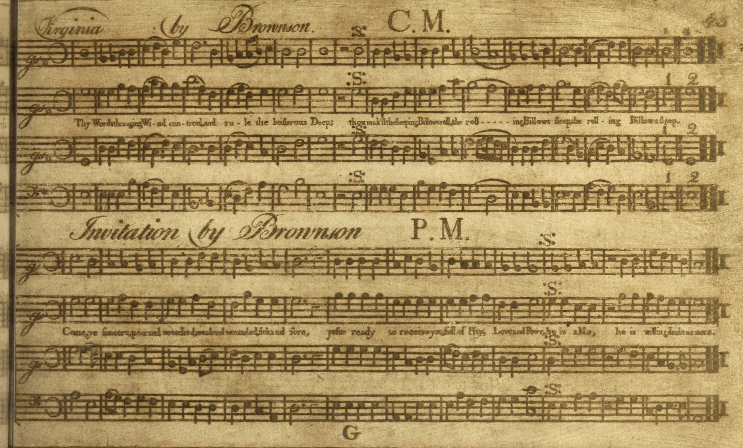 Fig. 10.  Oliver Brownson,  Select Harmony  (1783). Melody in the tenor part.