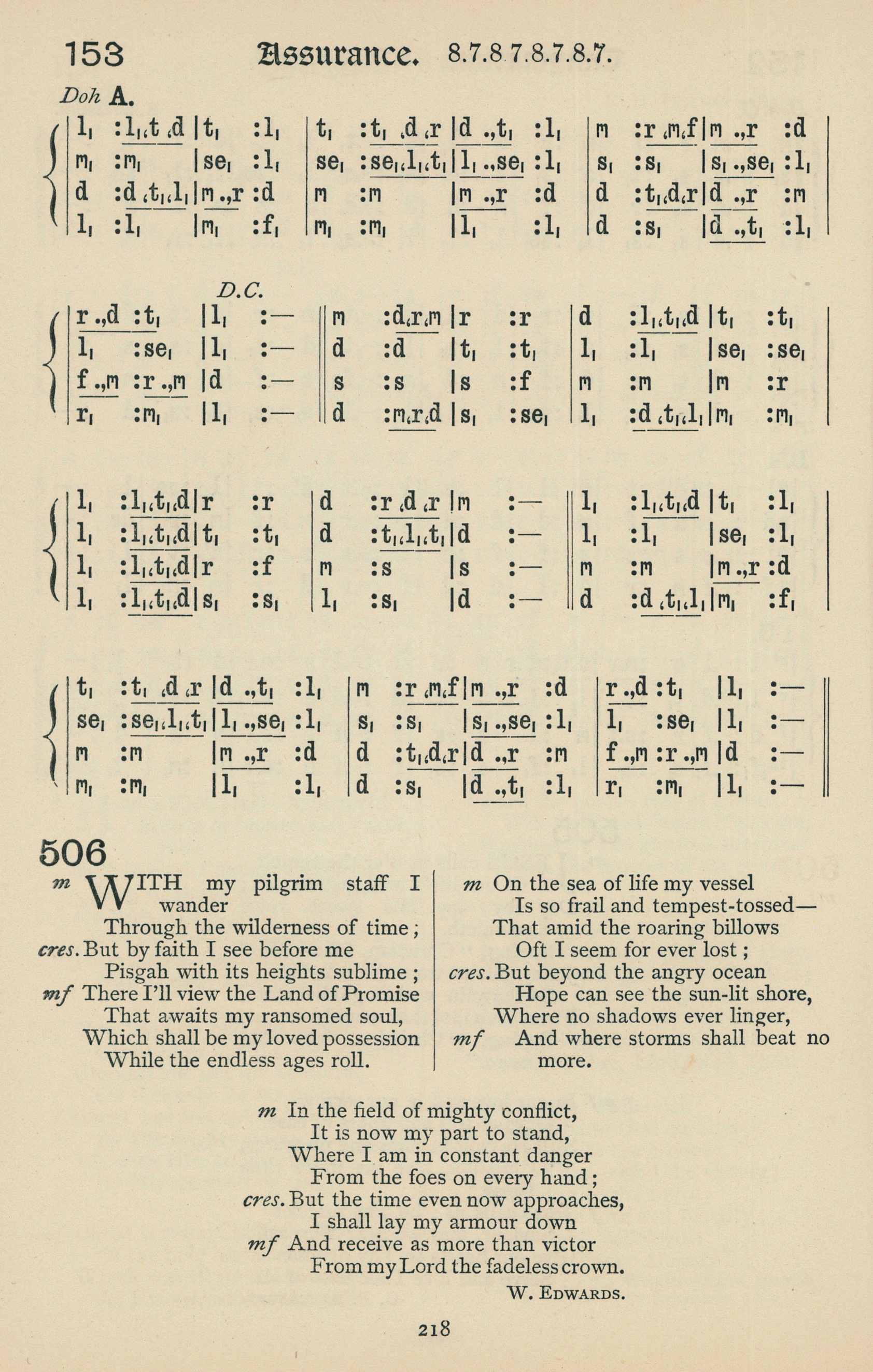 Fig. 5.   The Baptist Book of Praise  (Wales: Baptist Book of Praise Committee, 1900). Melody in the top line.