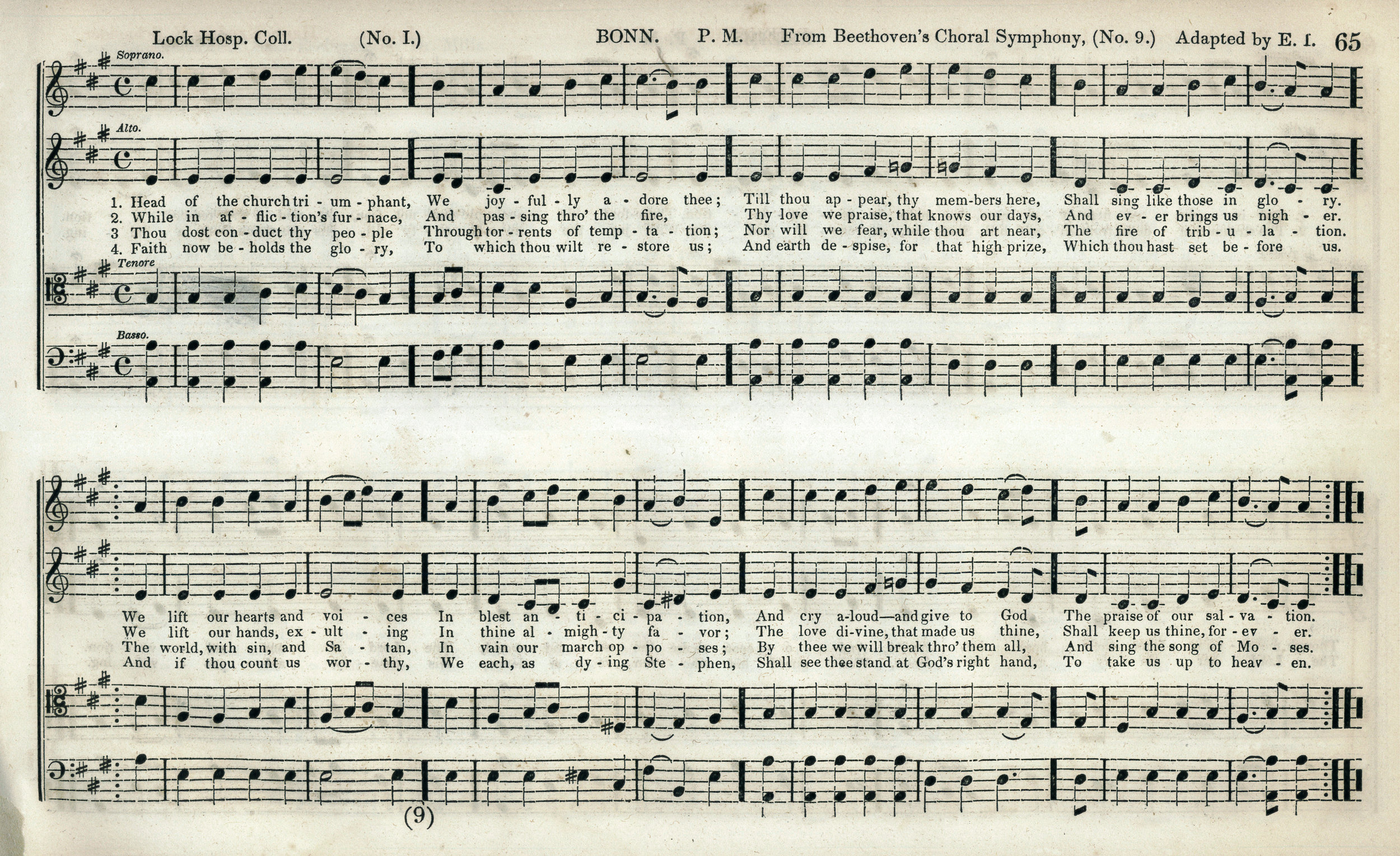 Fig. 5a.  E. Ives,  The Mozart Collection of Sacred Music  (NY: Paine & Burgess, 1846). Melody in the soprano part.