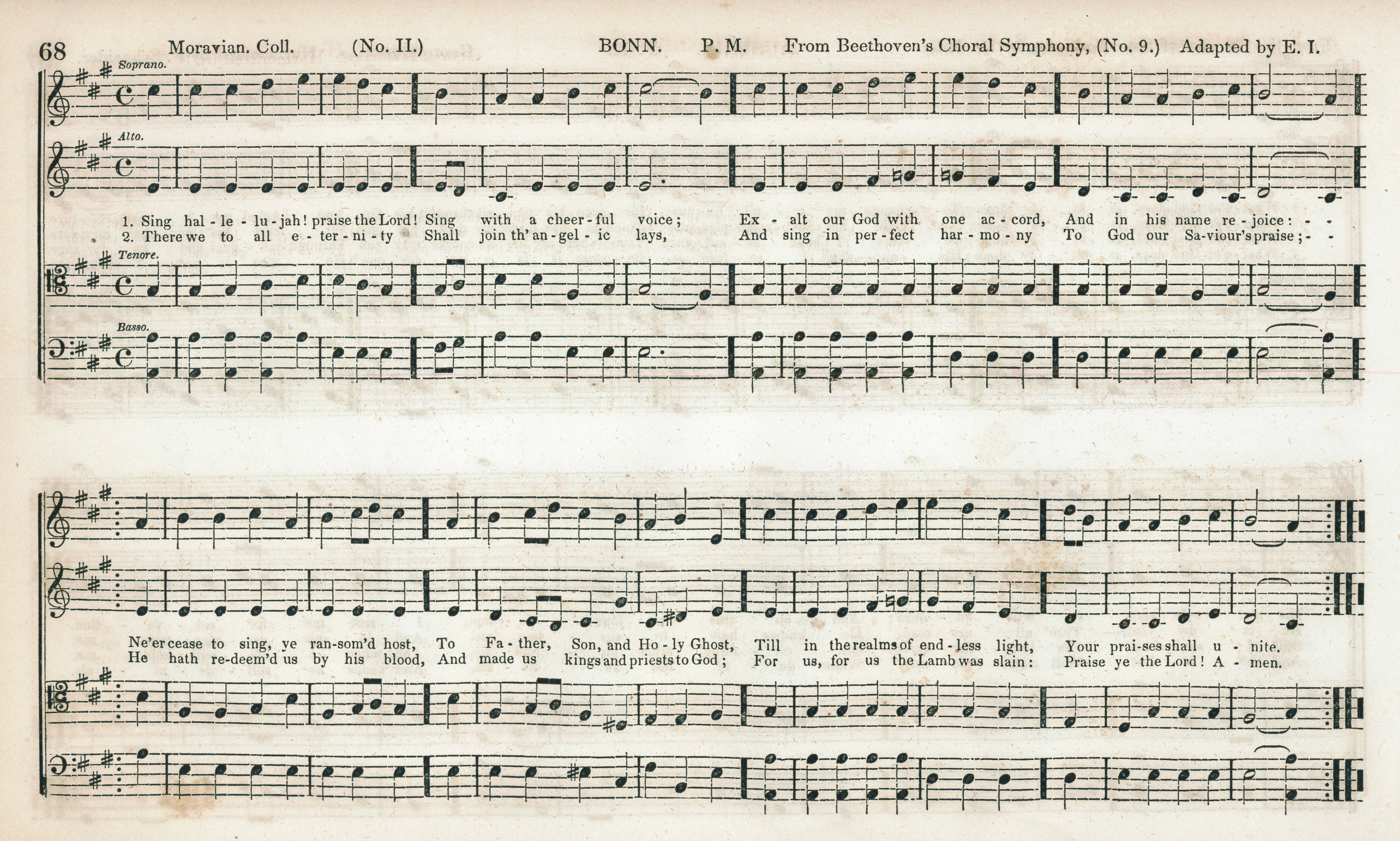 Fig. 5b.  E. Ives,  The Mozart Collection of Sacred Music  (NY: Paine & Burgess, 1846). Melody in the soprano part.