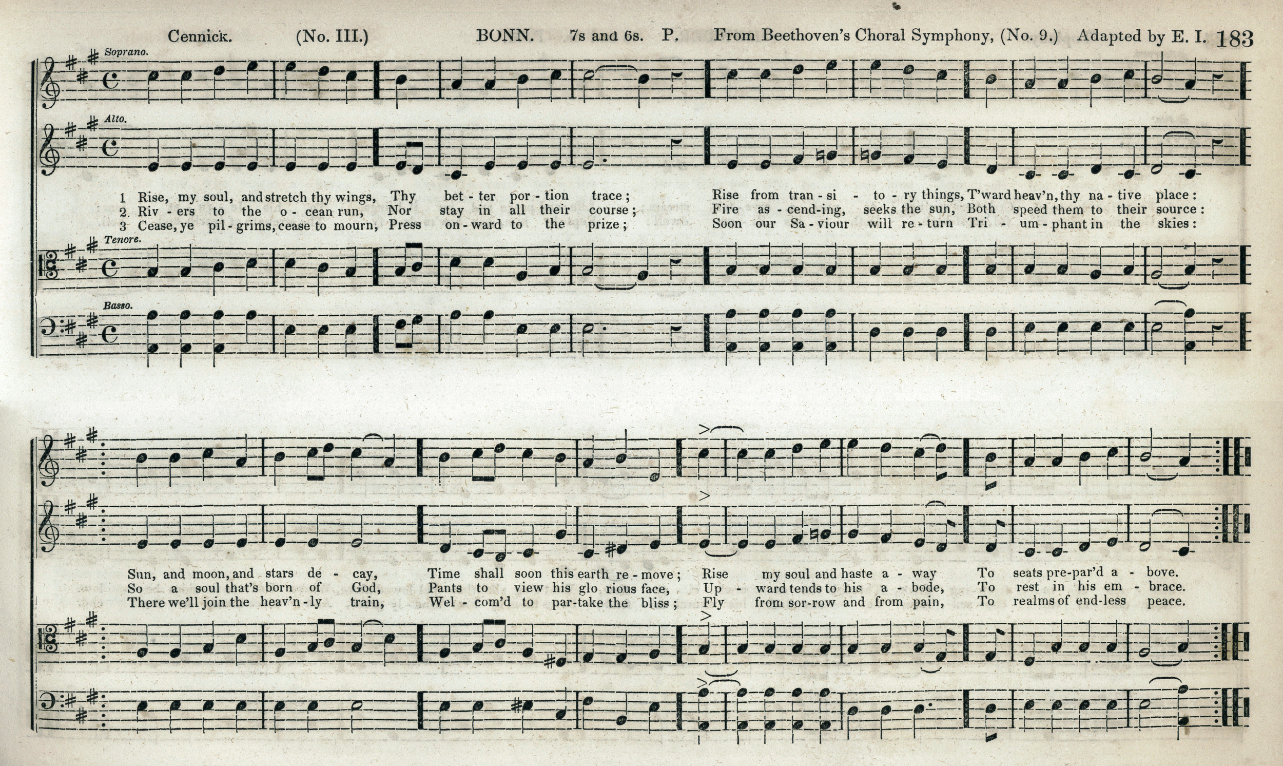 Fig. 5c.  E. Ives,  The Mozart Collection of Sacred Music  (NY: Paine & Burgess, 1846). Melody in the soprano part.