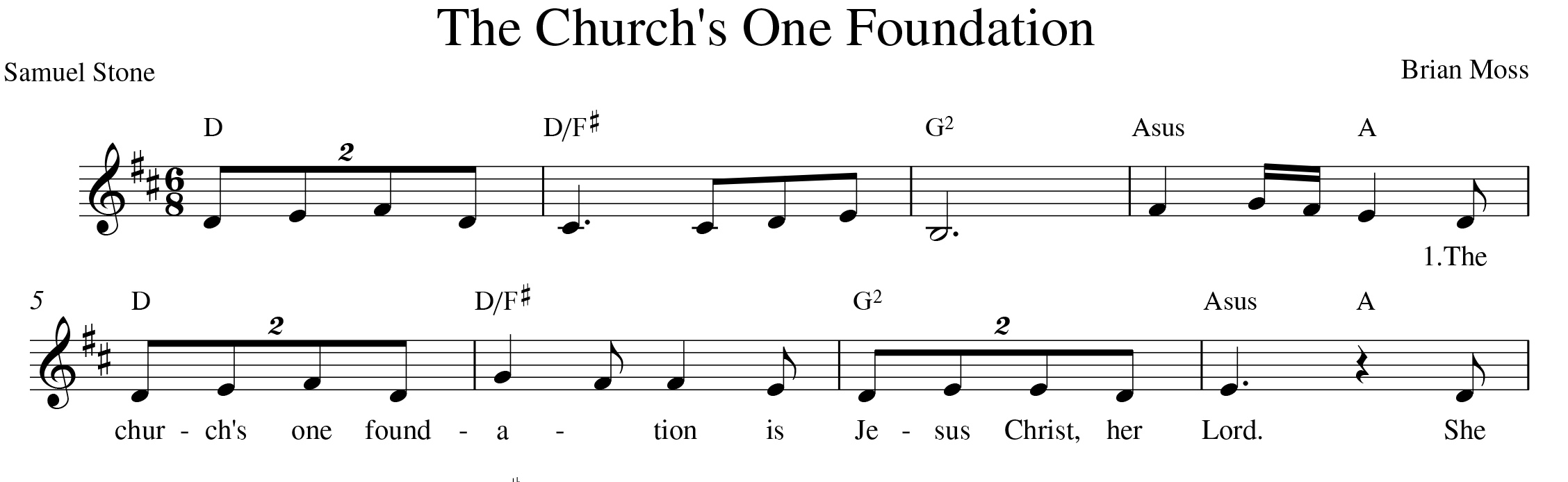 """Fig. 4.  Brian Moss, """"The church's one foundation (alternate version)""""  Indelible Grace Hymn Book  (©1996), excerpt."""