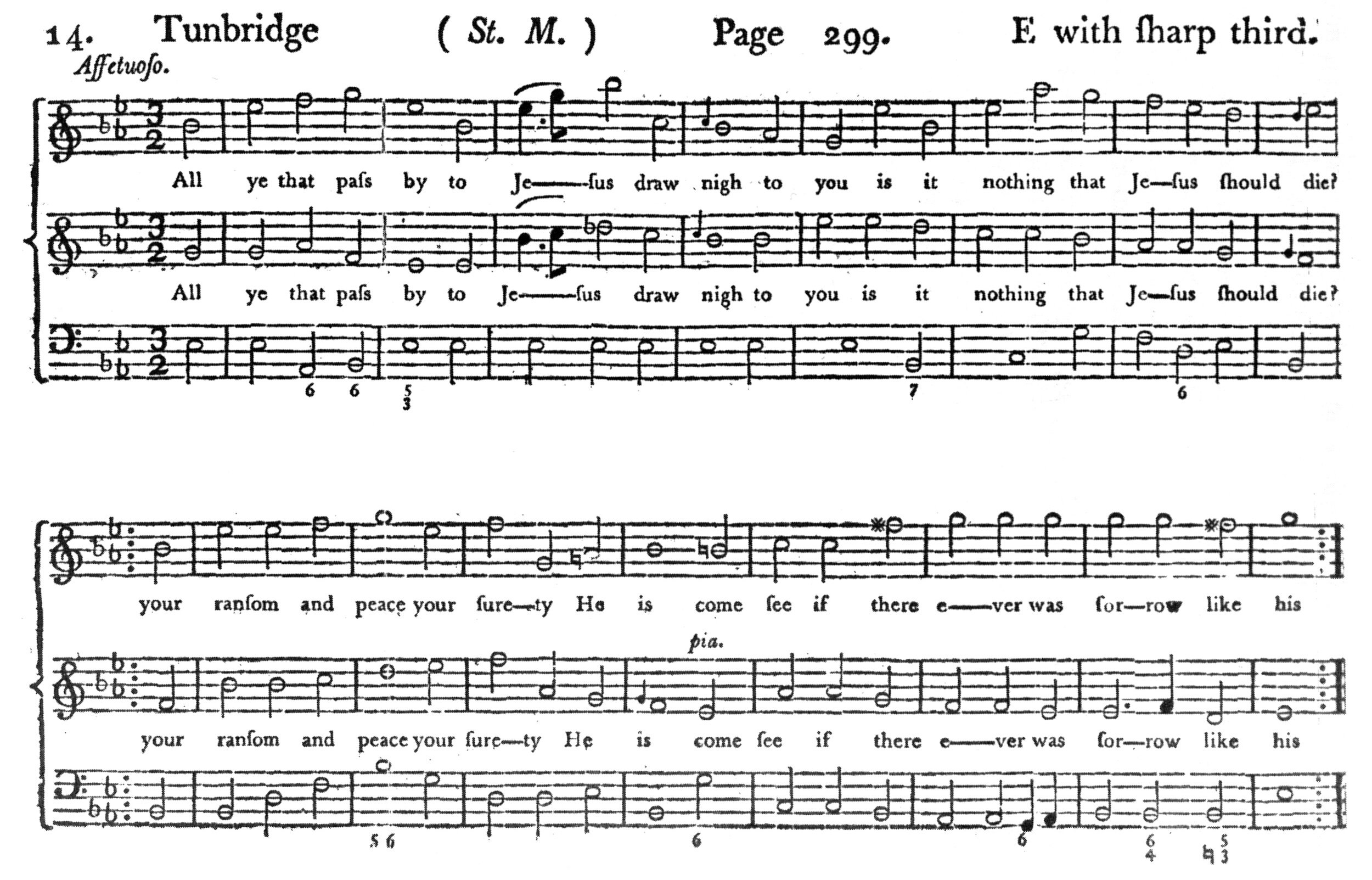 Fig. 6.   Musica Sacra: Being a choice collection of psalm and hymn tunes, … as they are used in the Right Hon. the Countess of Huntingdon's Chapels  (ca. 1774-1778). Melody in the middle part.