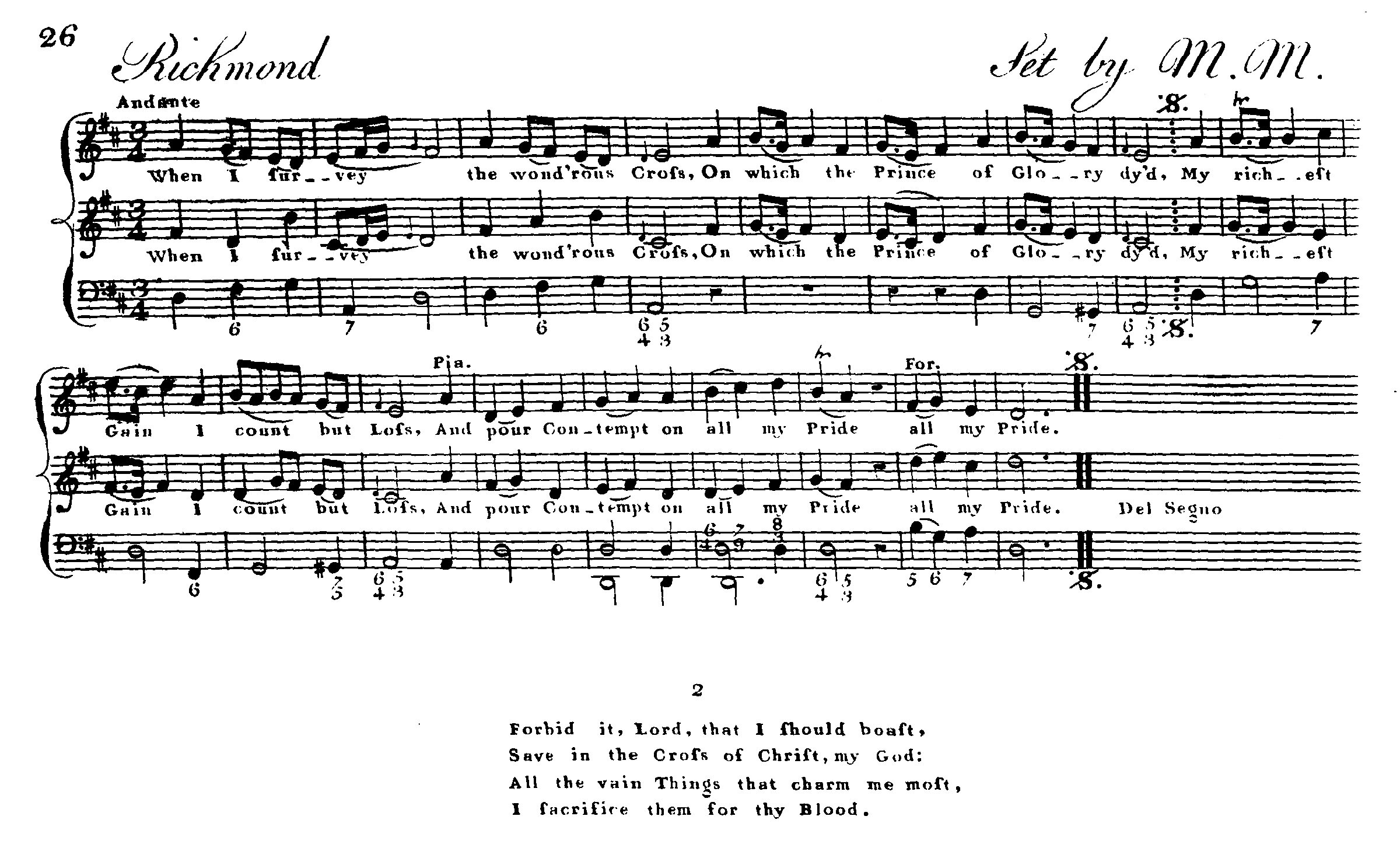 "Fig. 4.   A Collection of Psalm and Hymns Tunes  (London, 1769), ""to be had at the Lock Hospital near Hyde Park Corner."" Melody in the top voice."