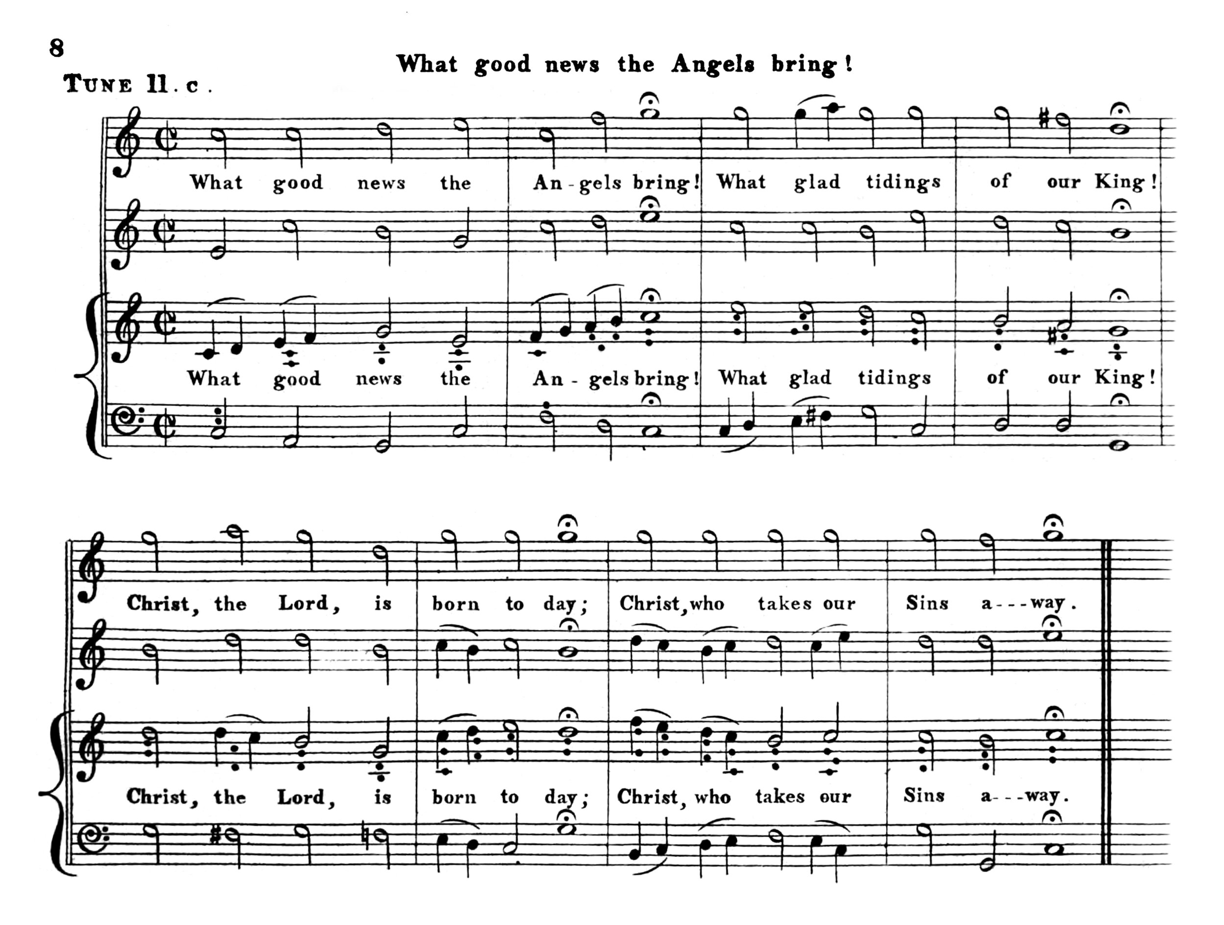 Fig. 9.   Hymn Tunes of the Church of the Brethren  (1824). Melody in the tenor part.