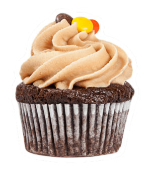 Chocolate Peanut Butter - *V | GFDark chocolate cupcake with creamy peanut butter frosting, toppedwith Reeces Pieces