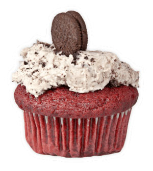 Red Velvet Oreo - Traditional red velvet cupcake, un-traditionally packed with Oreocrumbles, topped with vanilla buttercream frosting with more Oreocrumbles and a mini Oreo