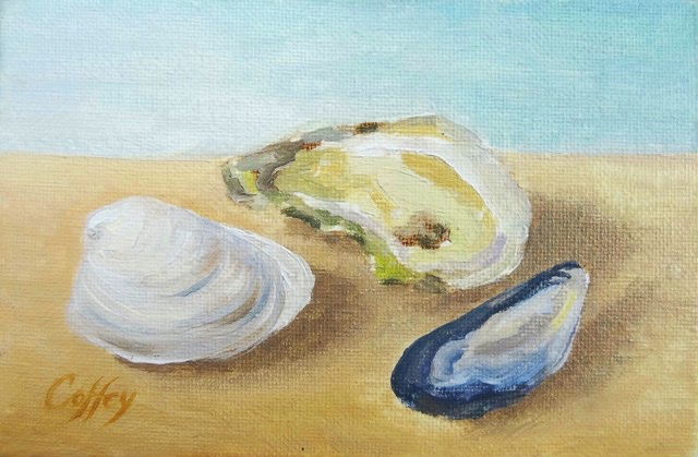 Three Locals S is for Shellfish  oil on board 4x6 suggested: $240. / maple frame