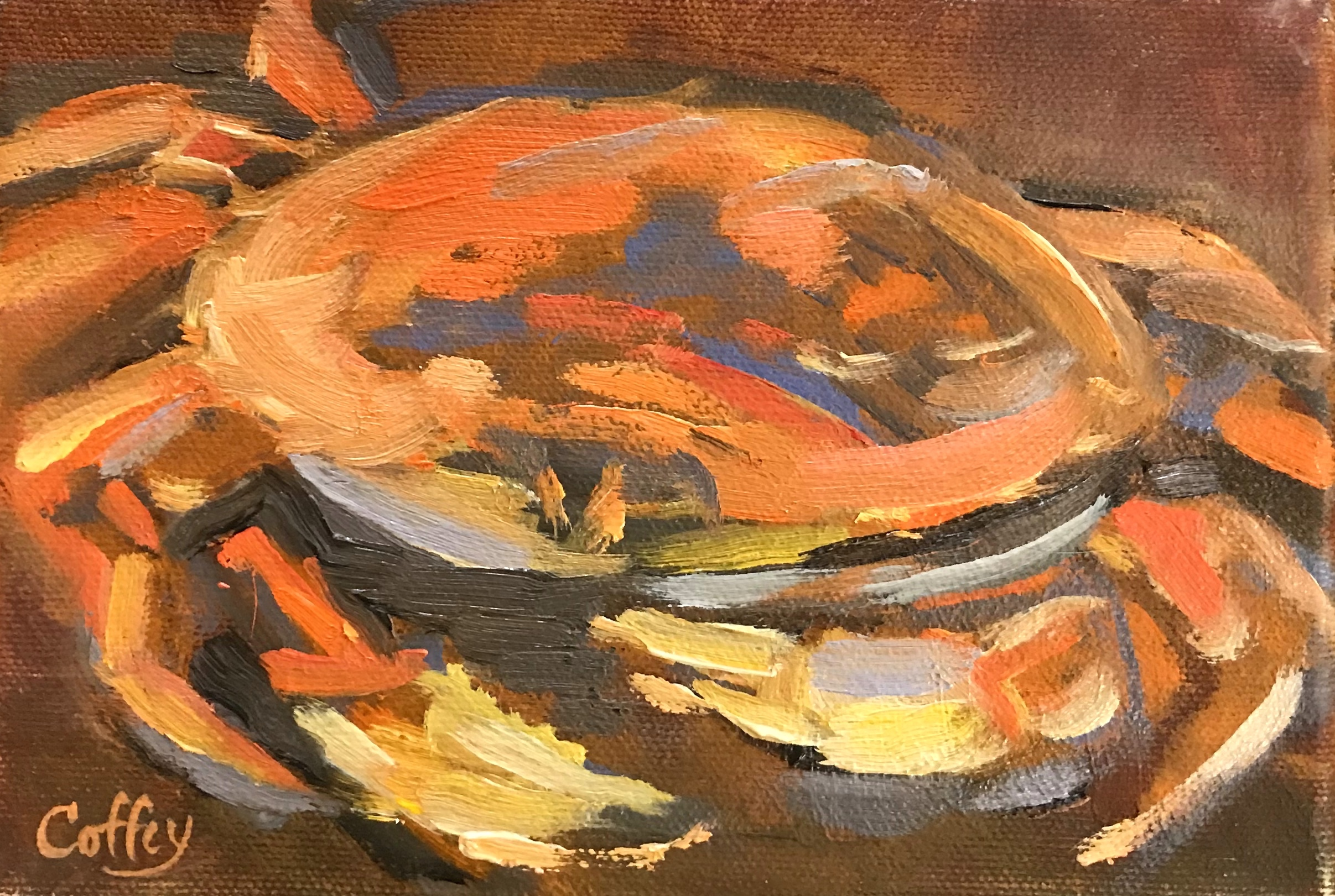 In Season C is for Crab  oil on canvas 5x7  suggested: $280. / maple frame