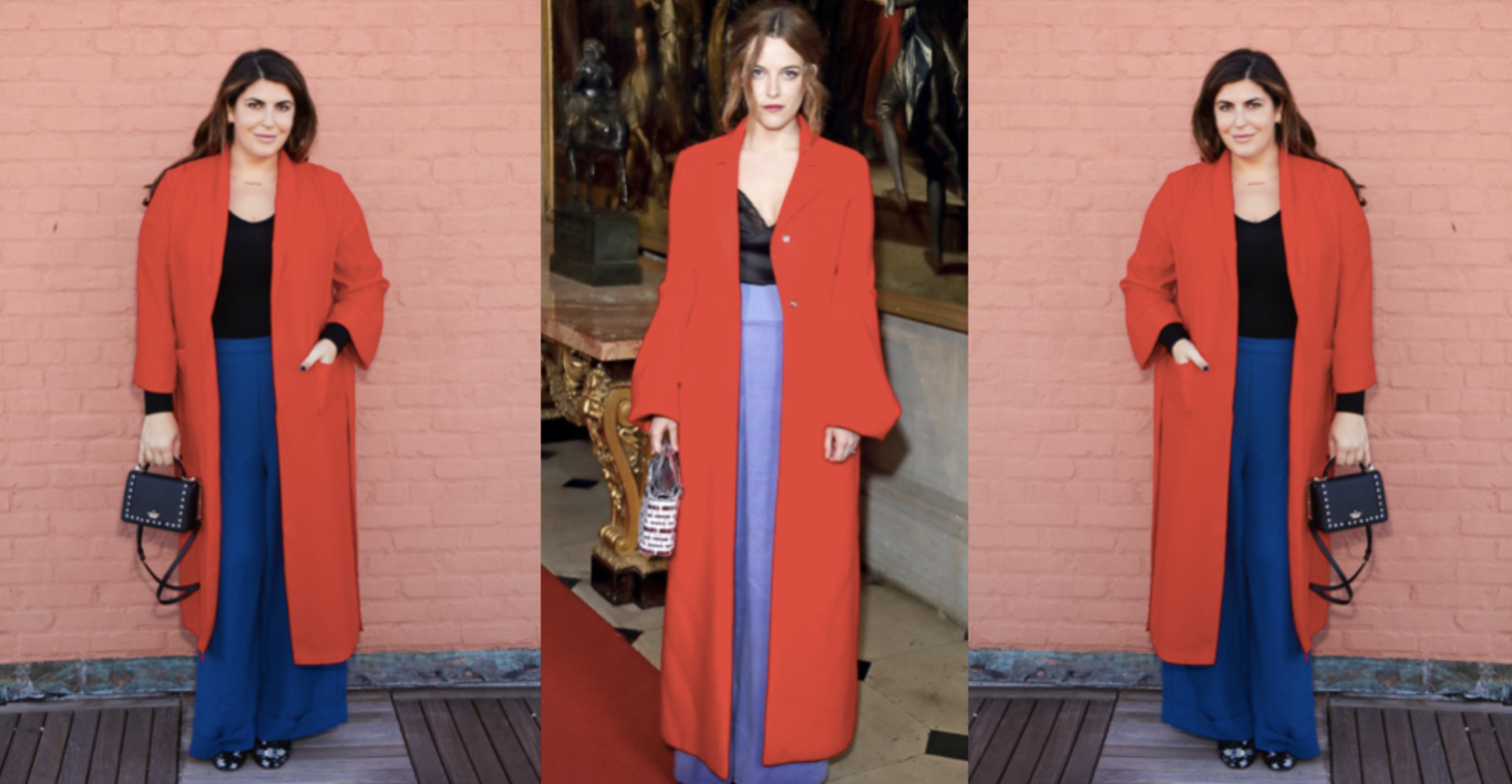 Katie rocking a red-cobalt color block inspired by Riley Keough