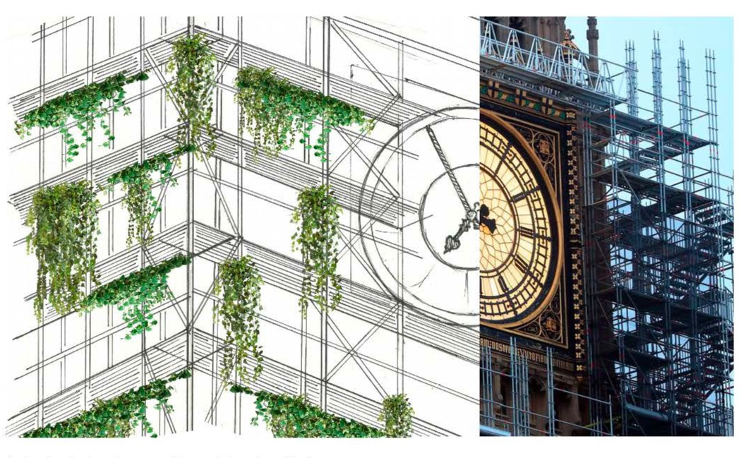 A drawing to show how our idea could work on Big Ben.