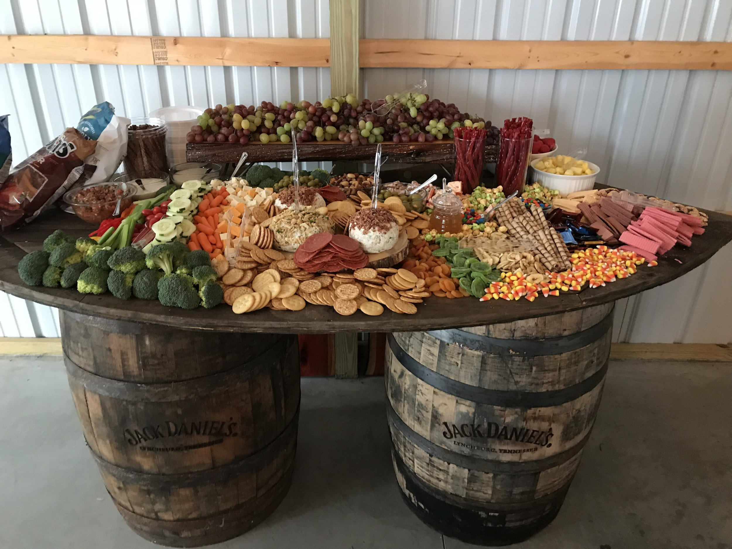 Whiskey Barrel Food Table