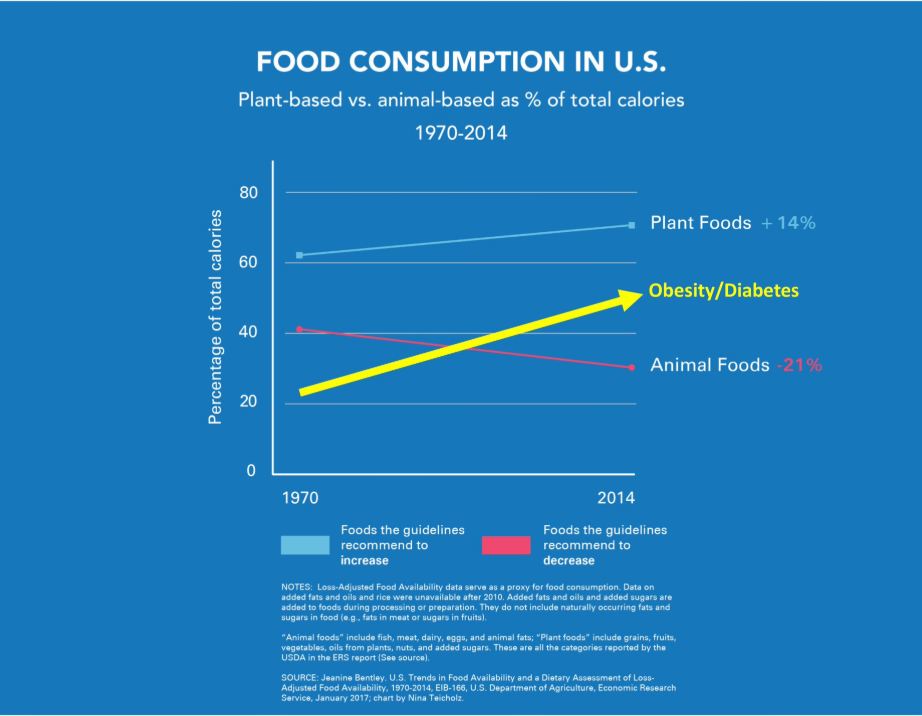 When the US introduced government nutritional guidelines in the 80's of a low-fat/high-carb diet, obesity and diabetes increased.