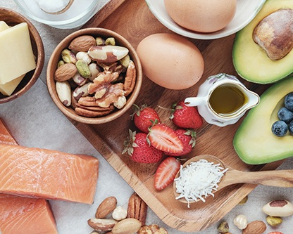 What is Keto? - The ketogenic (keto) diet is a low carb, moderate protein, and high fat diet that puts the body into a metabolic state known as ketosis. When the body is in ketosis, it uses stored fat for fuel instead of the food you eat, resulting in fat loss. Popular keto foods include: meats, avocado, bacon, green leafy veggies, berries and nuts. Restricted foods include: bread, sugars, pastas, rice, etc.