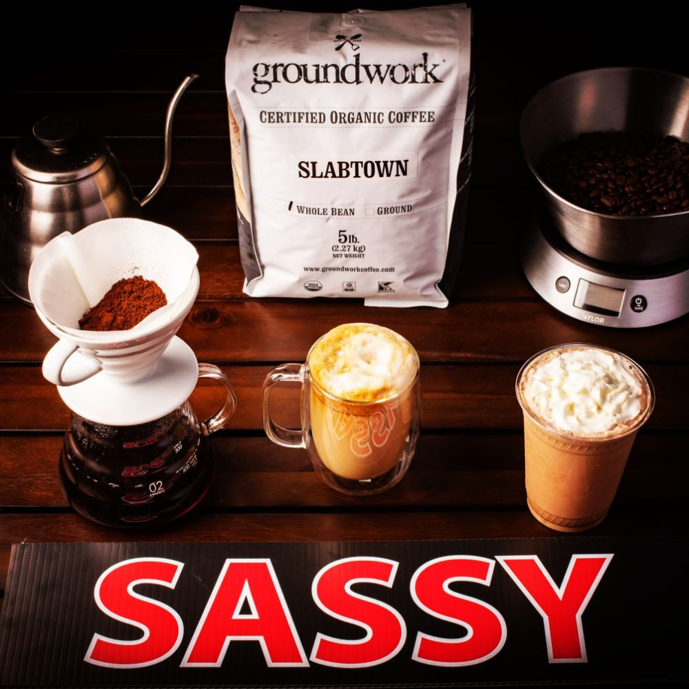100% Certified Organic Coffee roasted fresh by Groundwork Coffee of Santa Monica is what we use because it's not only delicious but unlike non-organic choices for coffee, you are not getting the pesticides.
