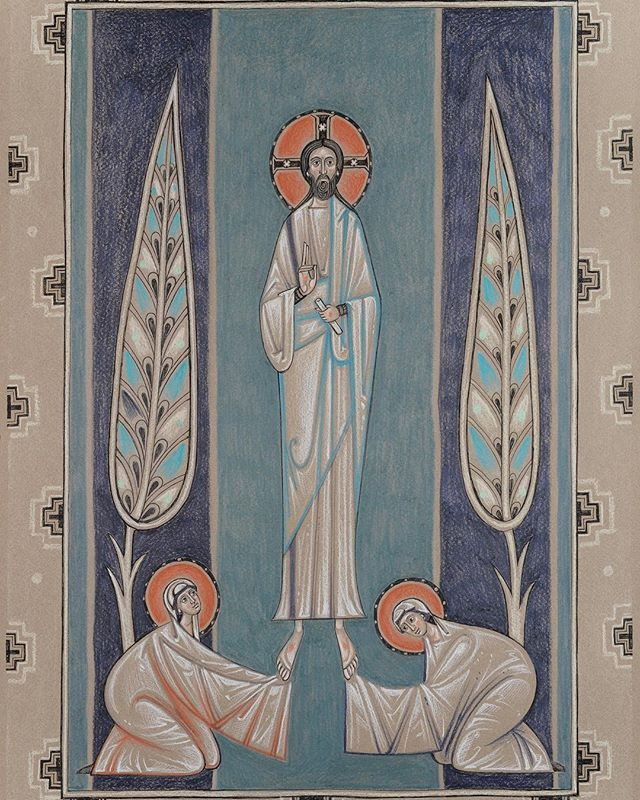 "Christ is risen! Indeed He is risen! Image: ""The Appearance of Christ to the Holy Women,"" by contemporary artist Olga Shalamova of Sacred Murals Studio. #sacredart #contemporaryart #orthodoxicon #pascha #easter #christisrisen"