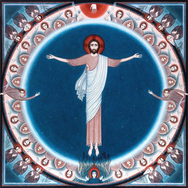 "Nikola Sarić, ""The Ascension of Jesus,"" 90 x 90 cm, acrylic on canvas, 2017. Visit: https://www.nikolasaric.de #nikolasaric #sacredart #sacredartsinitiative #acrylic #canvas #orthodoxicon #contemporary #creative #tradition"
