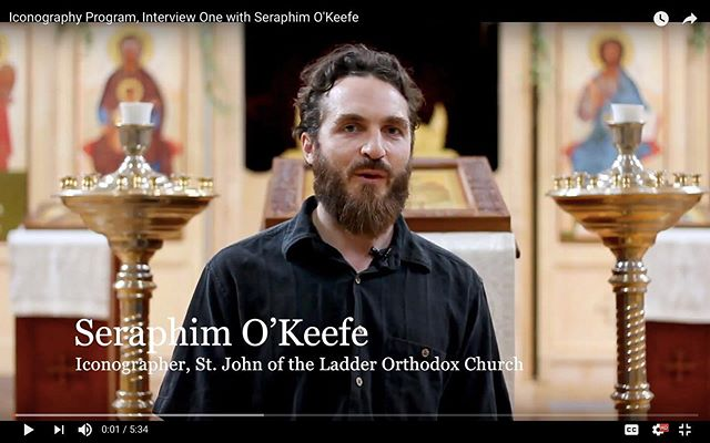 One of our recent alums applying lessons from our arts curriculum in his ongoing artistic work! Head to our FB page to watch the video. #seraphimokeefe #sacredarts #sacredartsinitiative #svotslife #orthodoxicons #orthodoxiconography #contemporaryiconography #iconology #painting